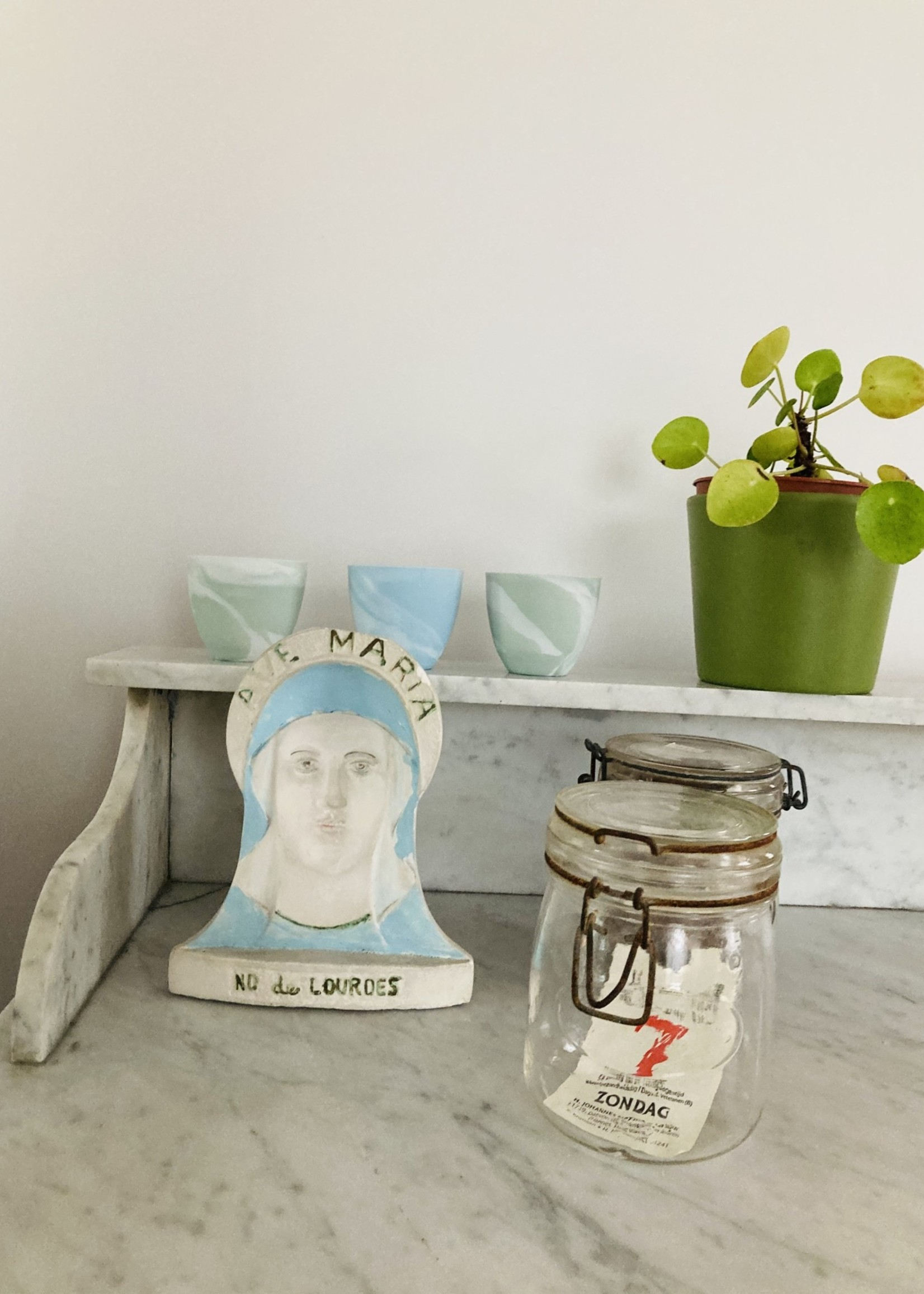 Holy Mary Statue in plaster / inverted for optical illusion