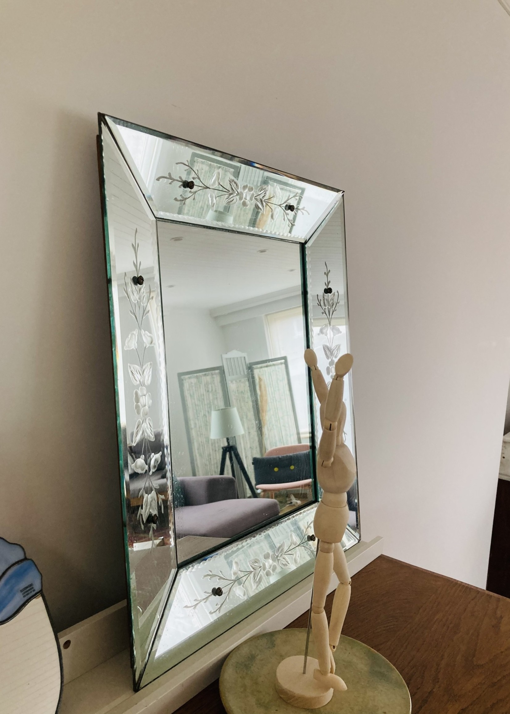 Mid century Venetian mirror with floral chiselled edge