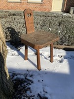 Small brutalist wooden chair