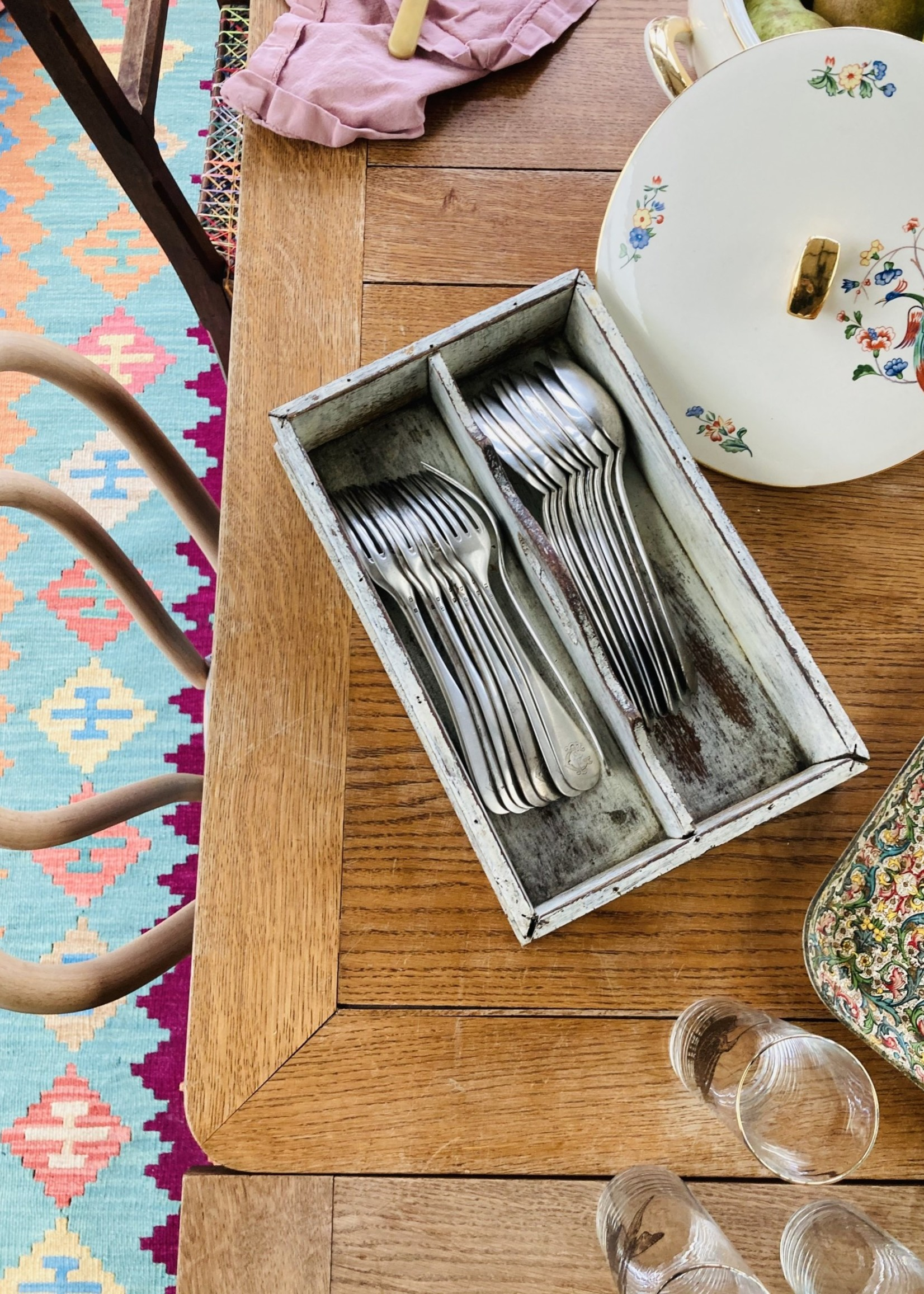 Antique wooden tray with Set of 9 silver spoons and 9 silver forks with the initials FC