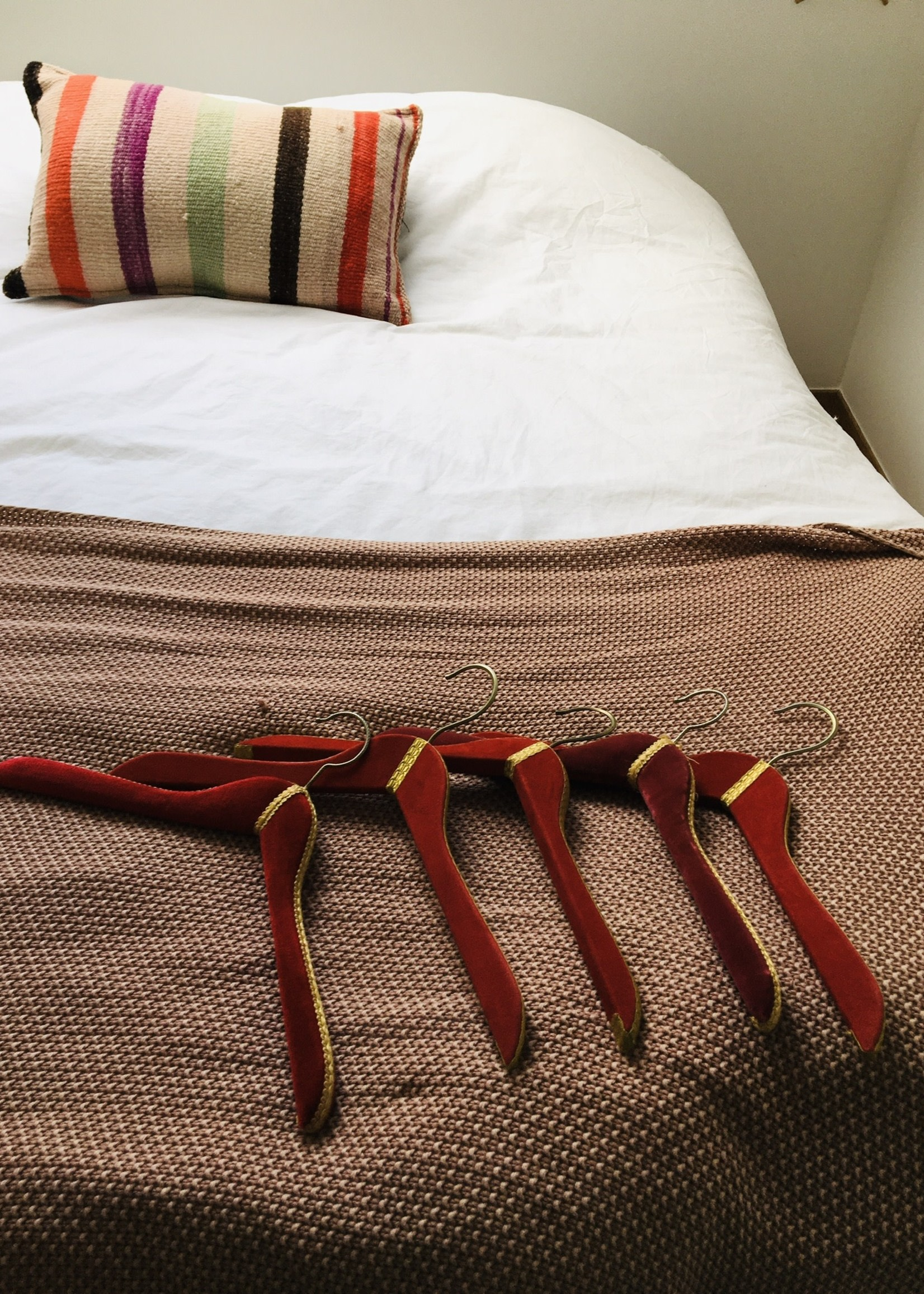 Red, pink and gold vintage velvet hangers