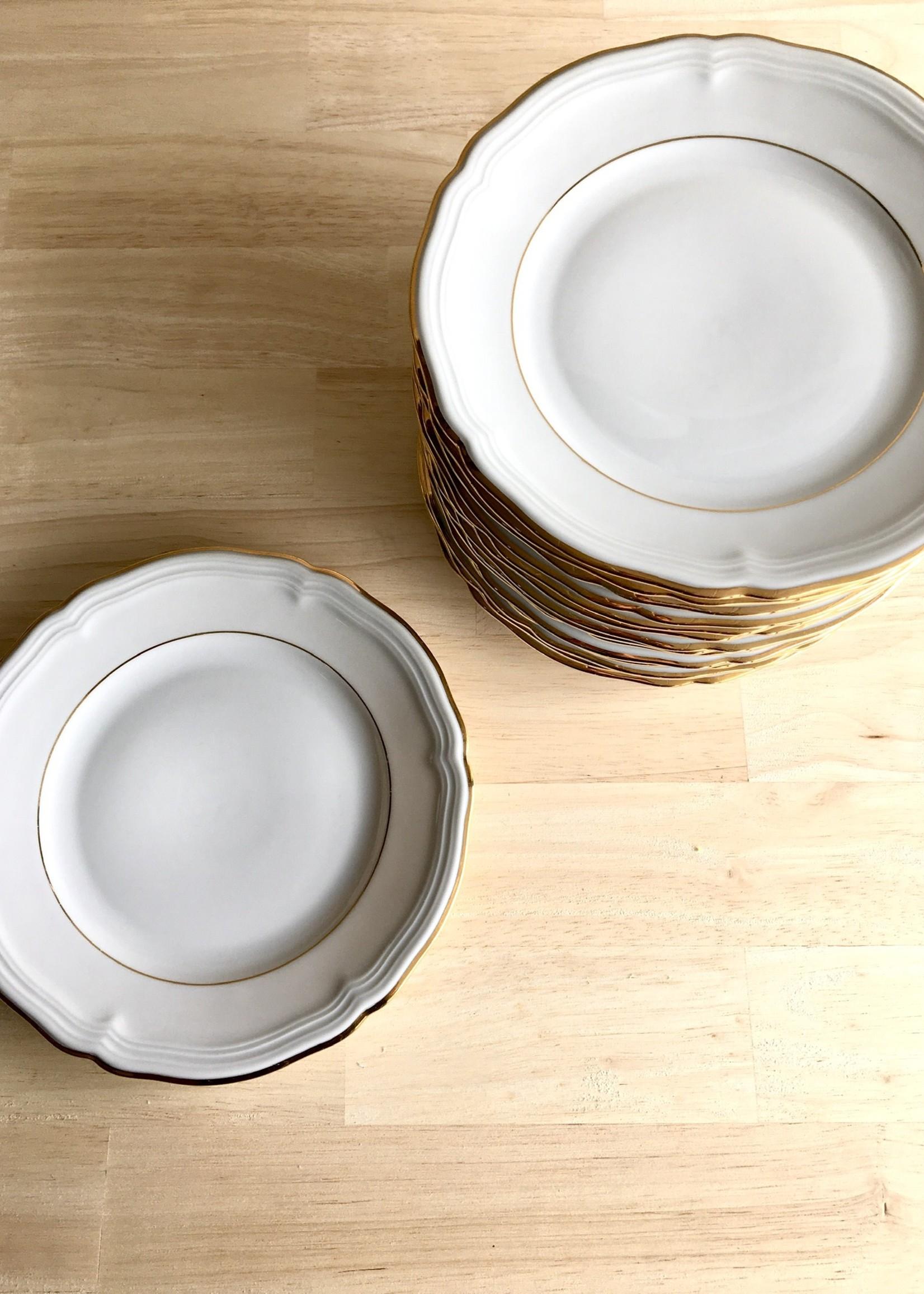 Bavarian porcelain dessert plates model Marie Luise White and gold