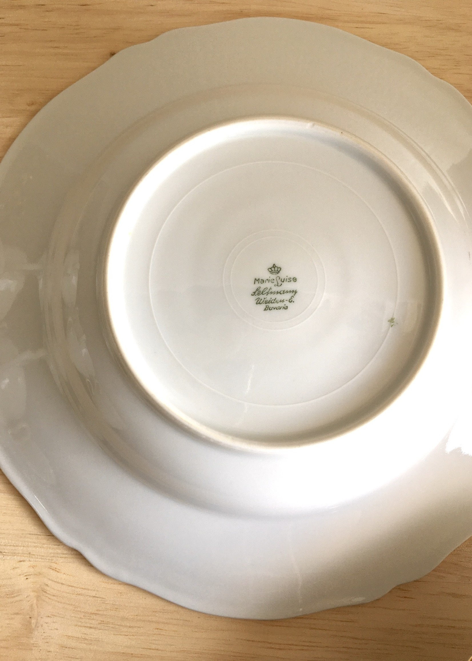 Bavarian porcelain deep plates Marie Luise model White and gold