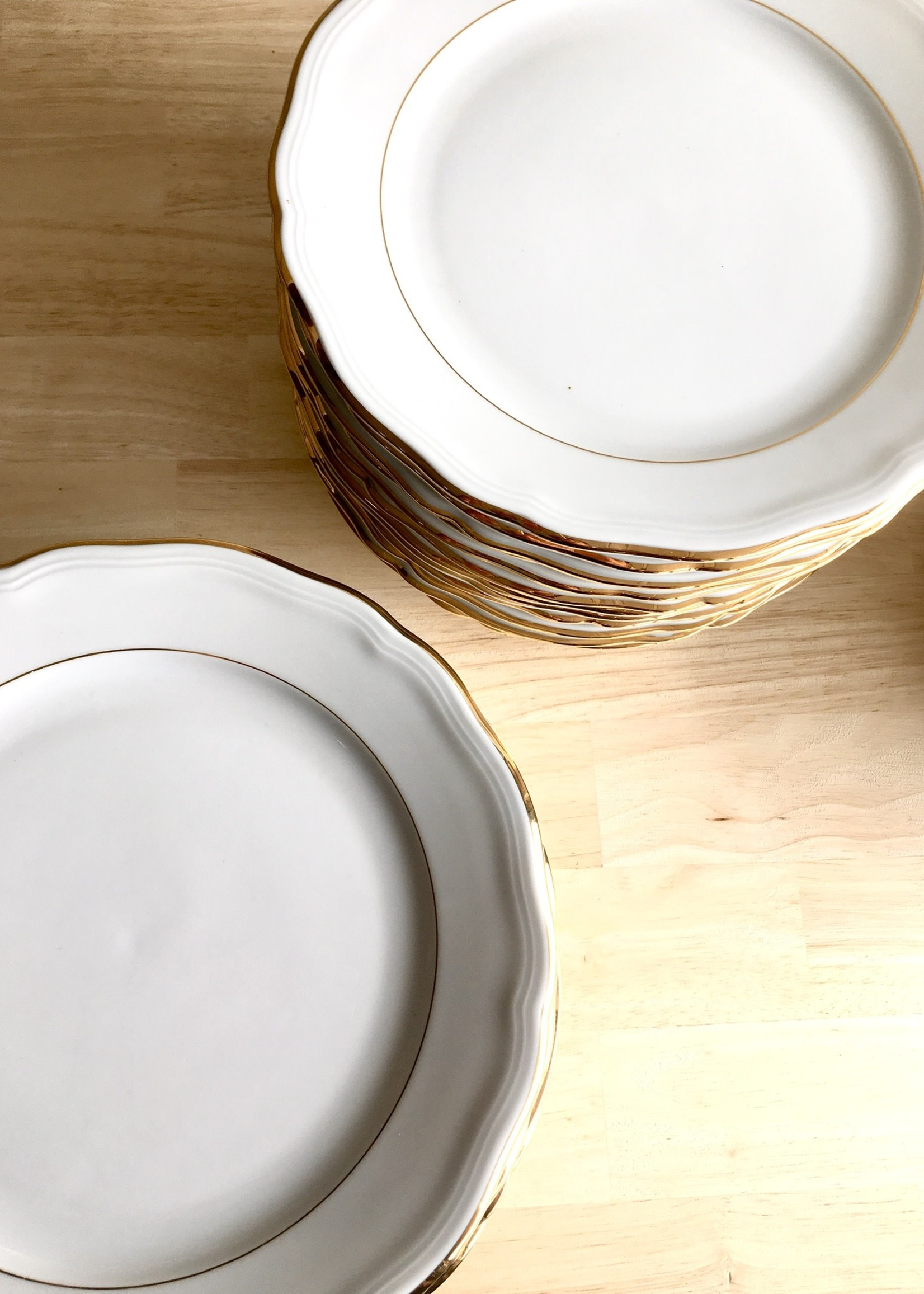 Bavarian Porcelain large plates model Marie Luise White and gold