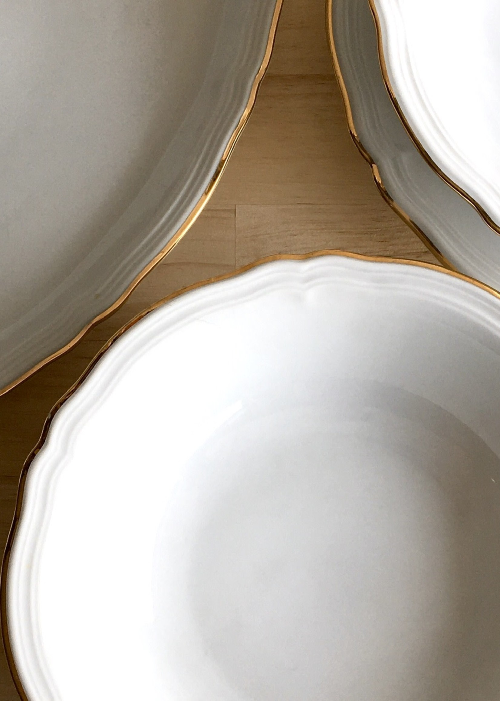 Bavarian Porcelain Salad dishes model Marie Luise White and gold