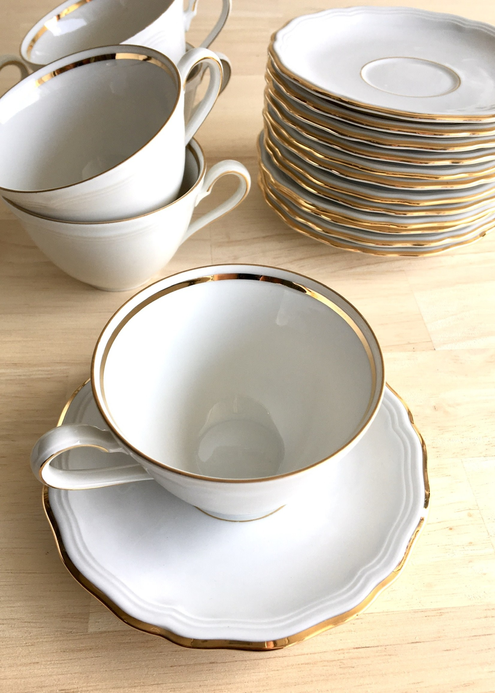 Bavarian Porcelain coffee cups model Marie Luise White and gold