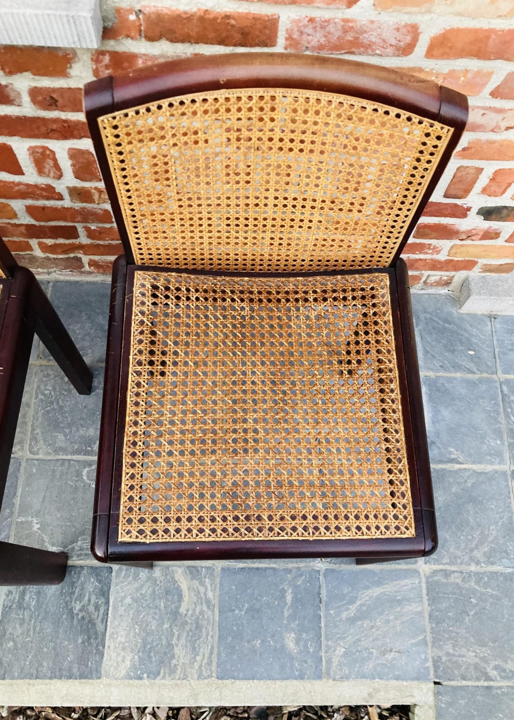 Italian dark wooden and rattan chairs