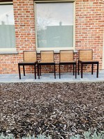 Italian dark wooden and rattan chairs
