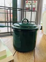 Dark green enamel pot with lid