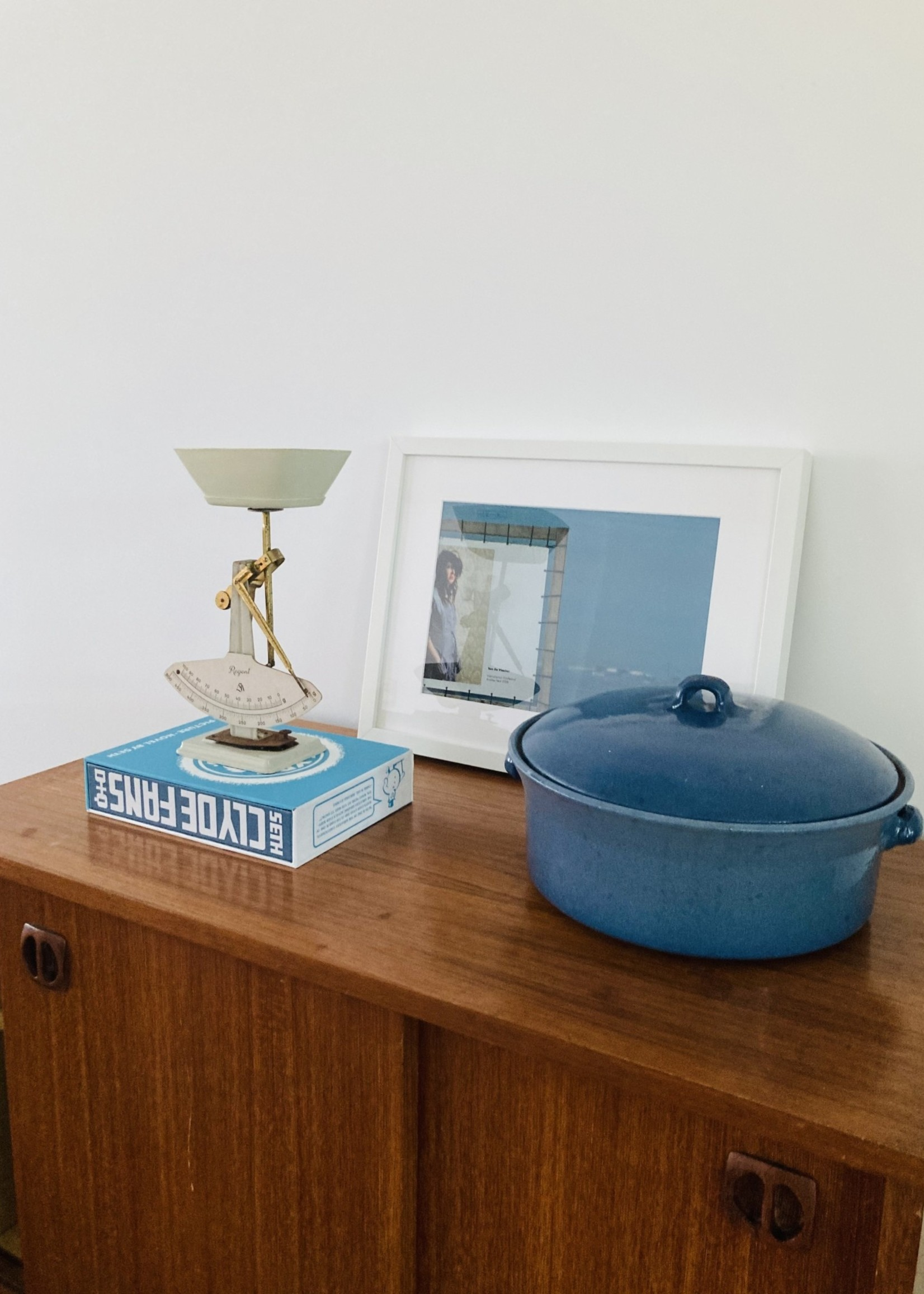 Terracotta dish enamelled in turquoise blue