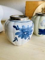 Small Delft porcelain pot with silver metal rim