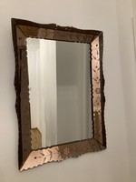 Venetian Mirror Floral Bevelled with copper edge And black traces of use on 3 edges