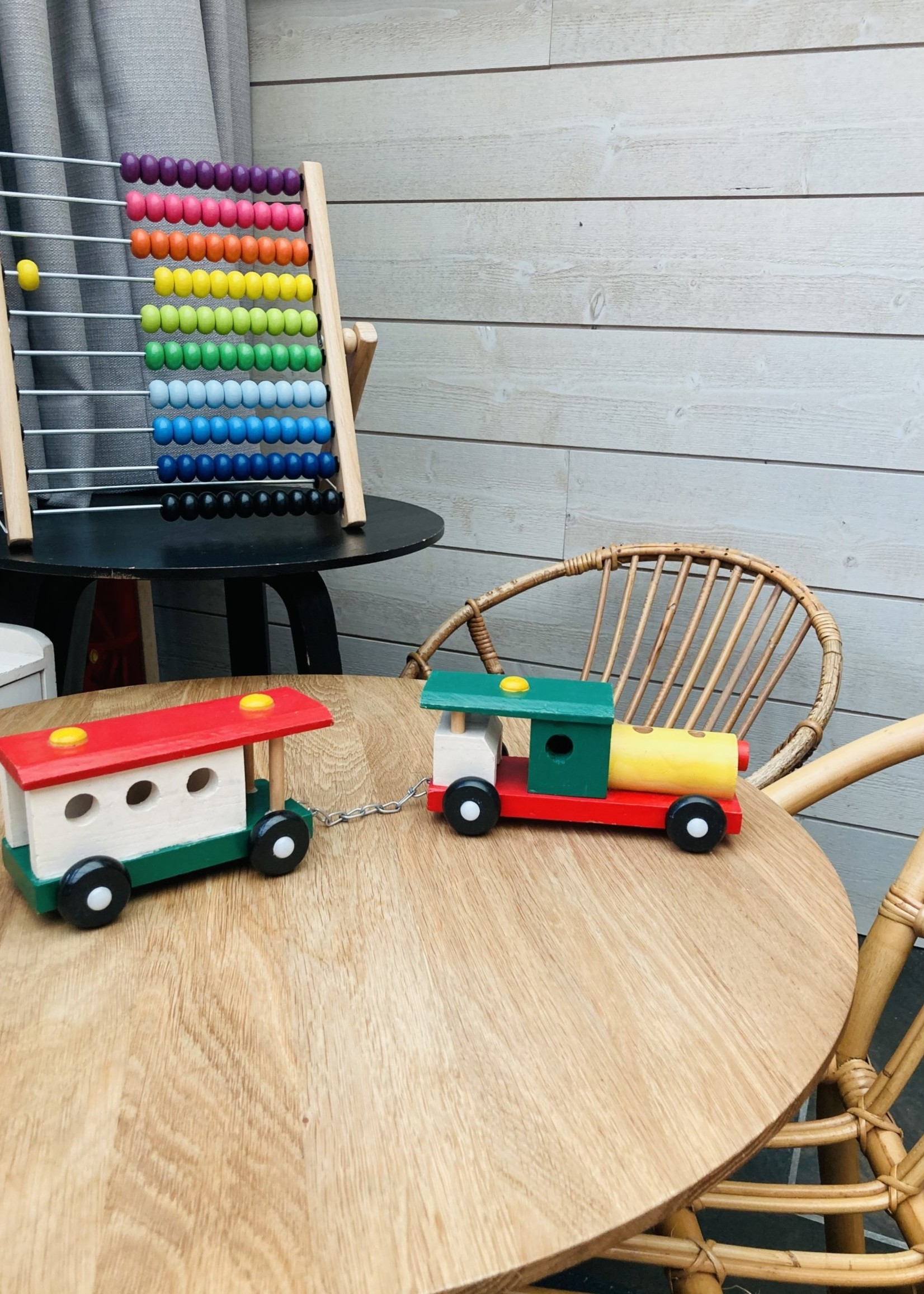 Painted wooden train
