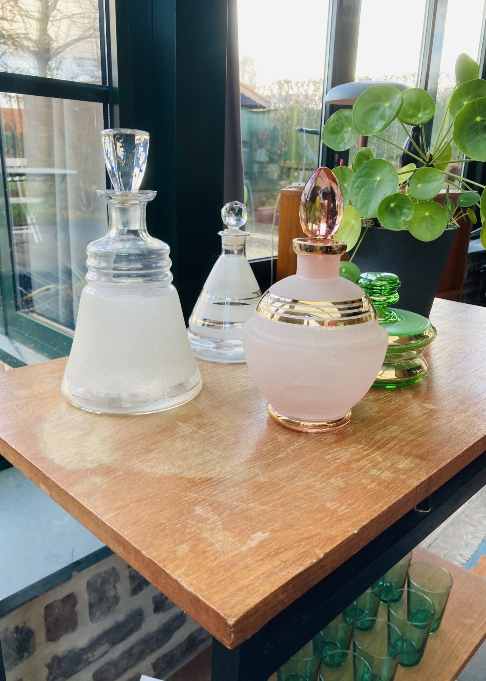 Vintage pink carafe in frosted and gold glass