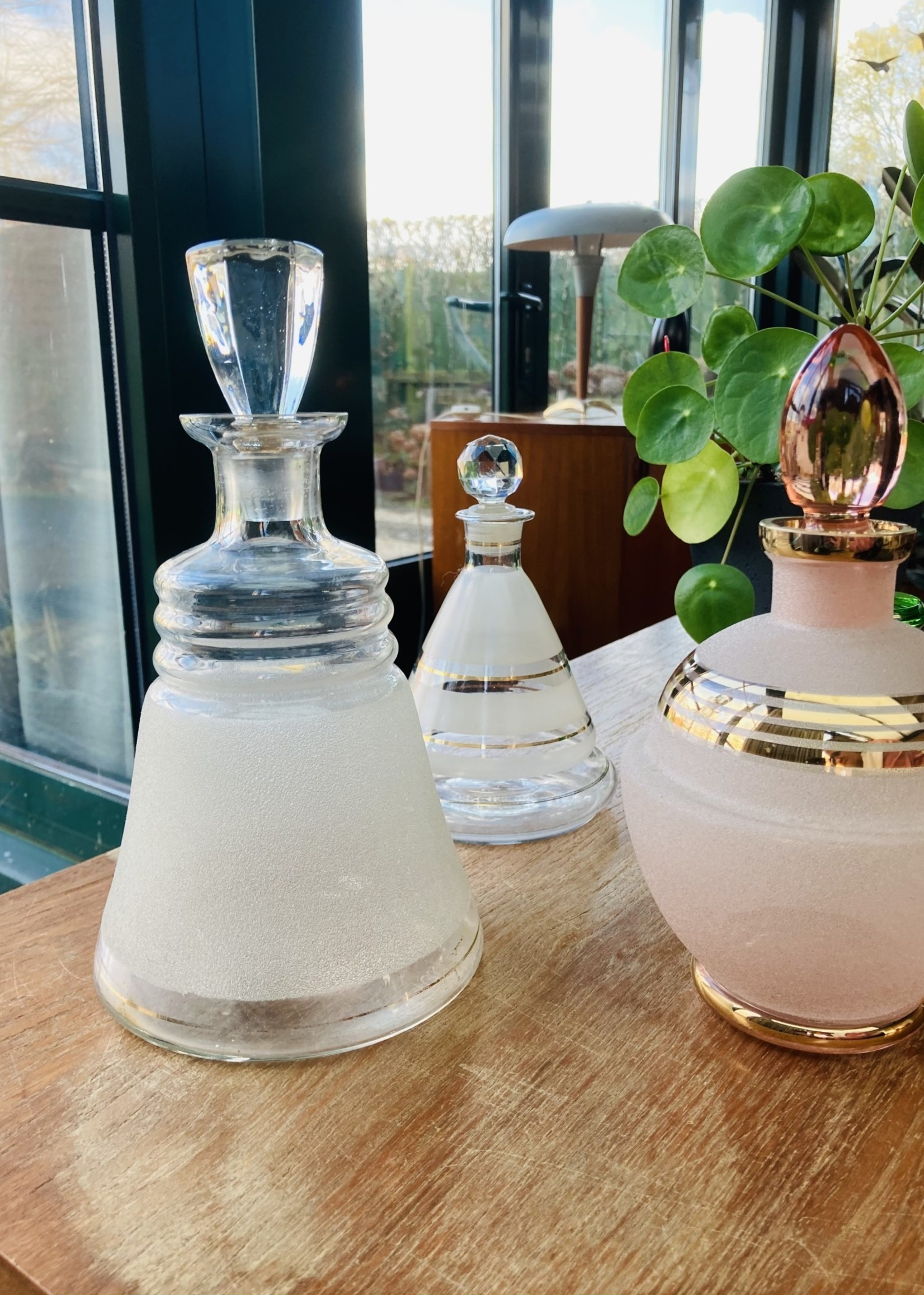 Vintage glass carafe in transparent gold and frosted vintage glass