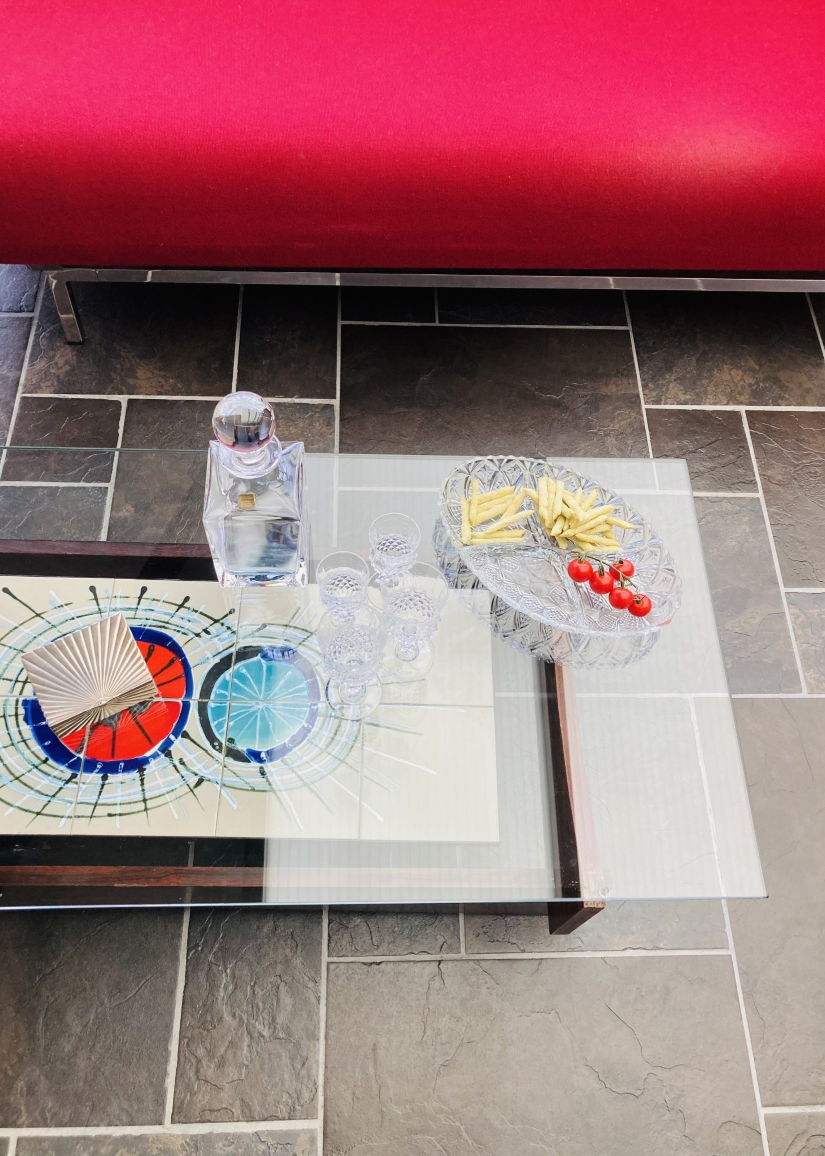 Fifties coffee table in brutalist style and Nisko style tiling