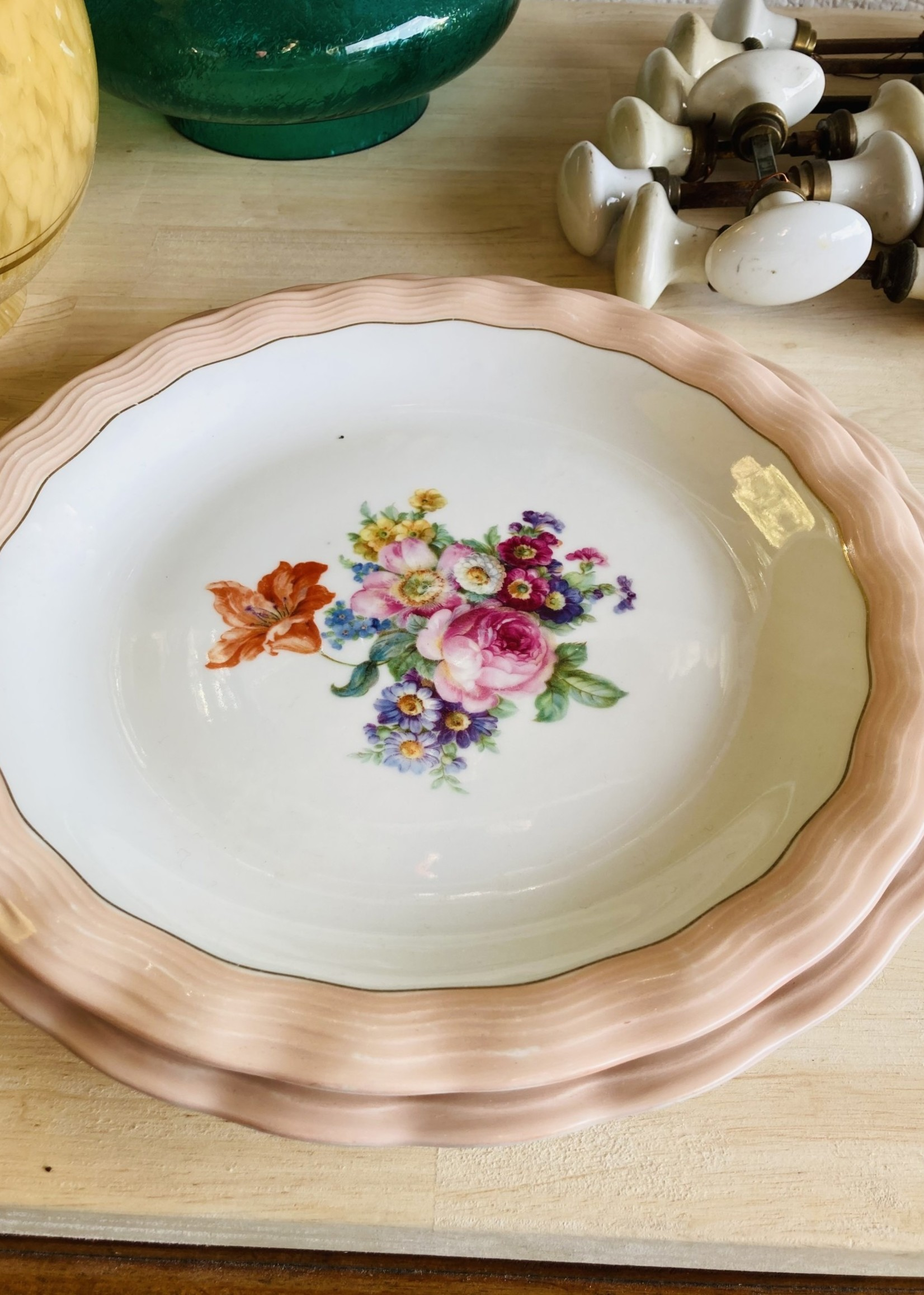 Limoge ULIM, Floral pink, Salad dish Small/Low