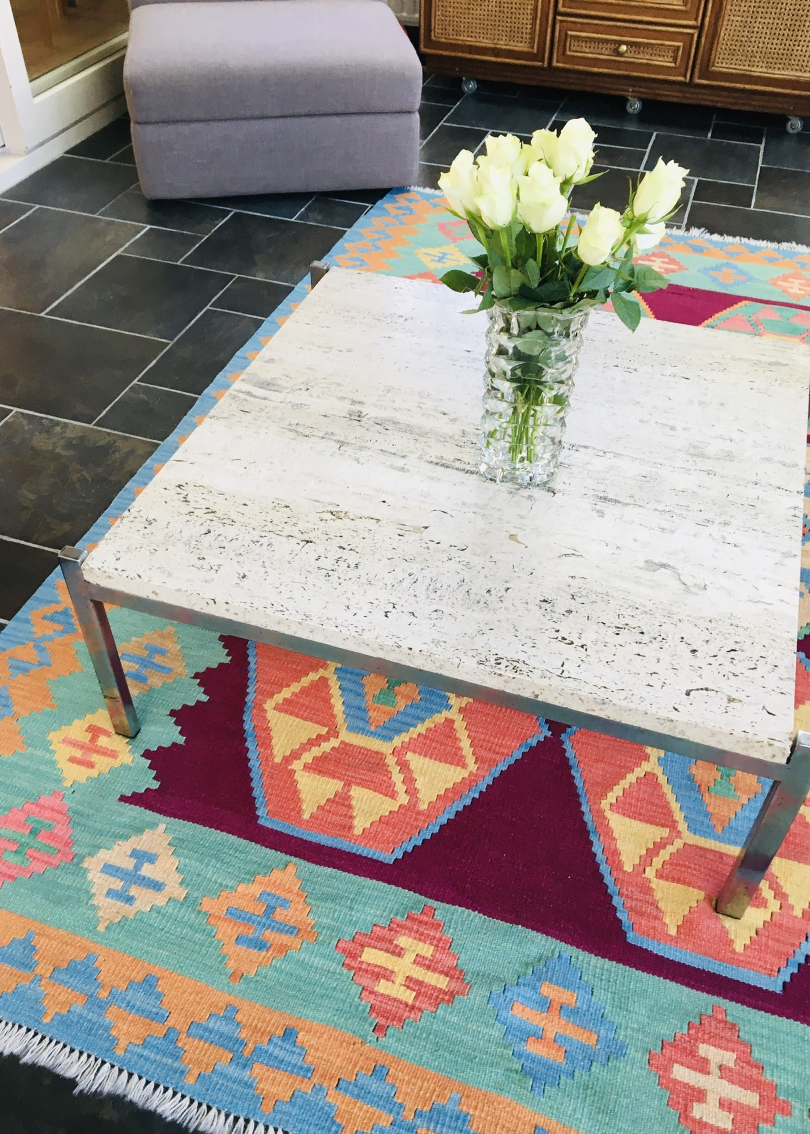60's square coffee table, chrome and travertine legs