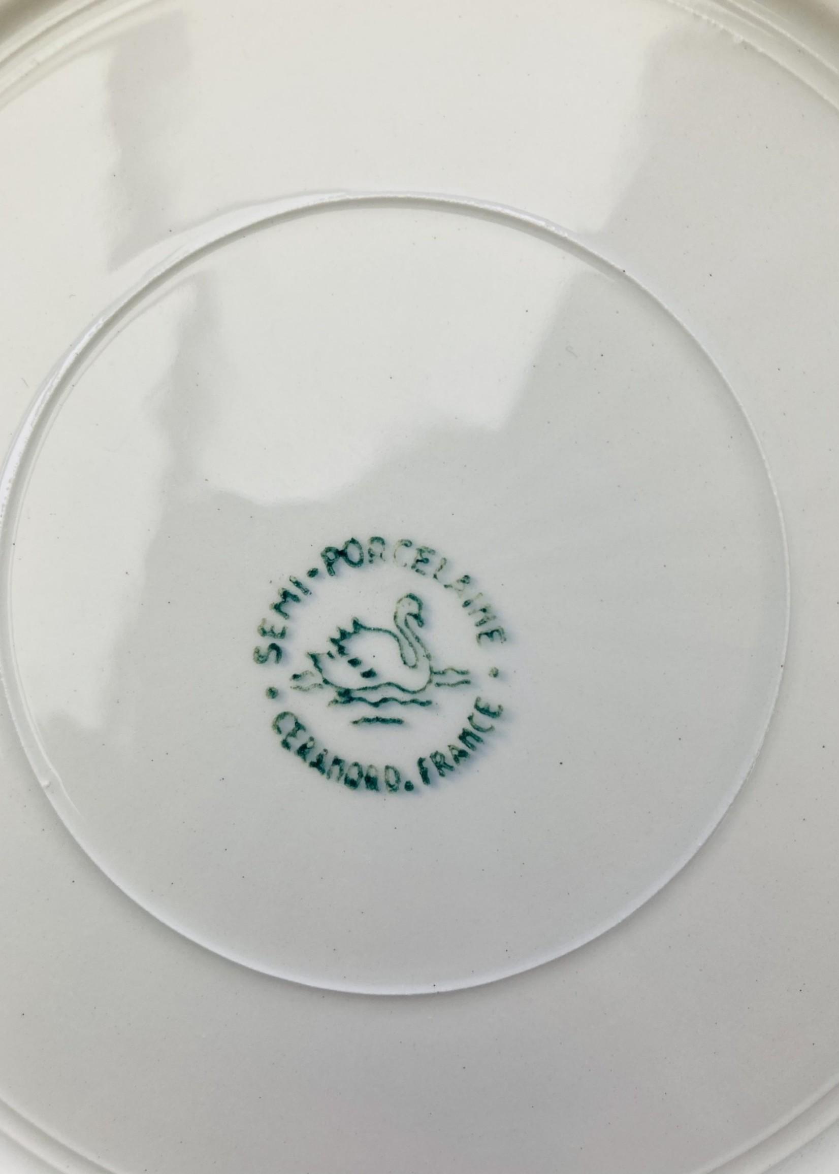 Art Deco semi-porcelain soup plate Ceranord with green rim