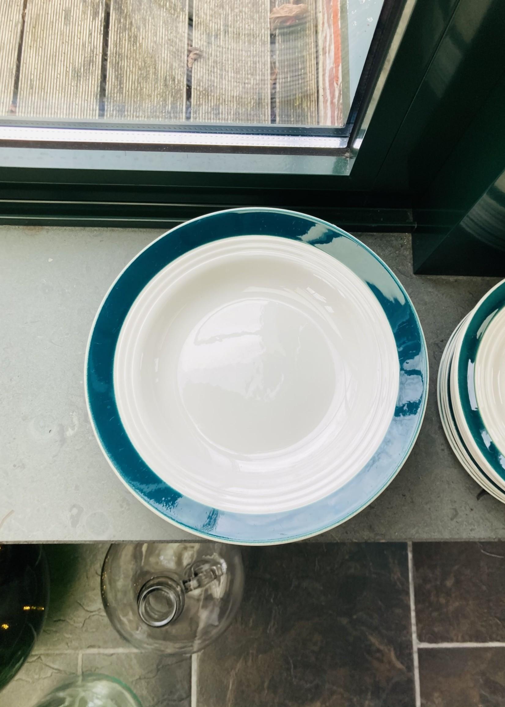 Art Deco semi-porcelain soup plates Ceranord with green rim