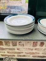 Art Deco semi-porcelain soup plates Ceranord with green rim