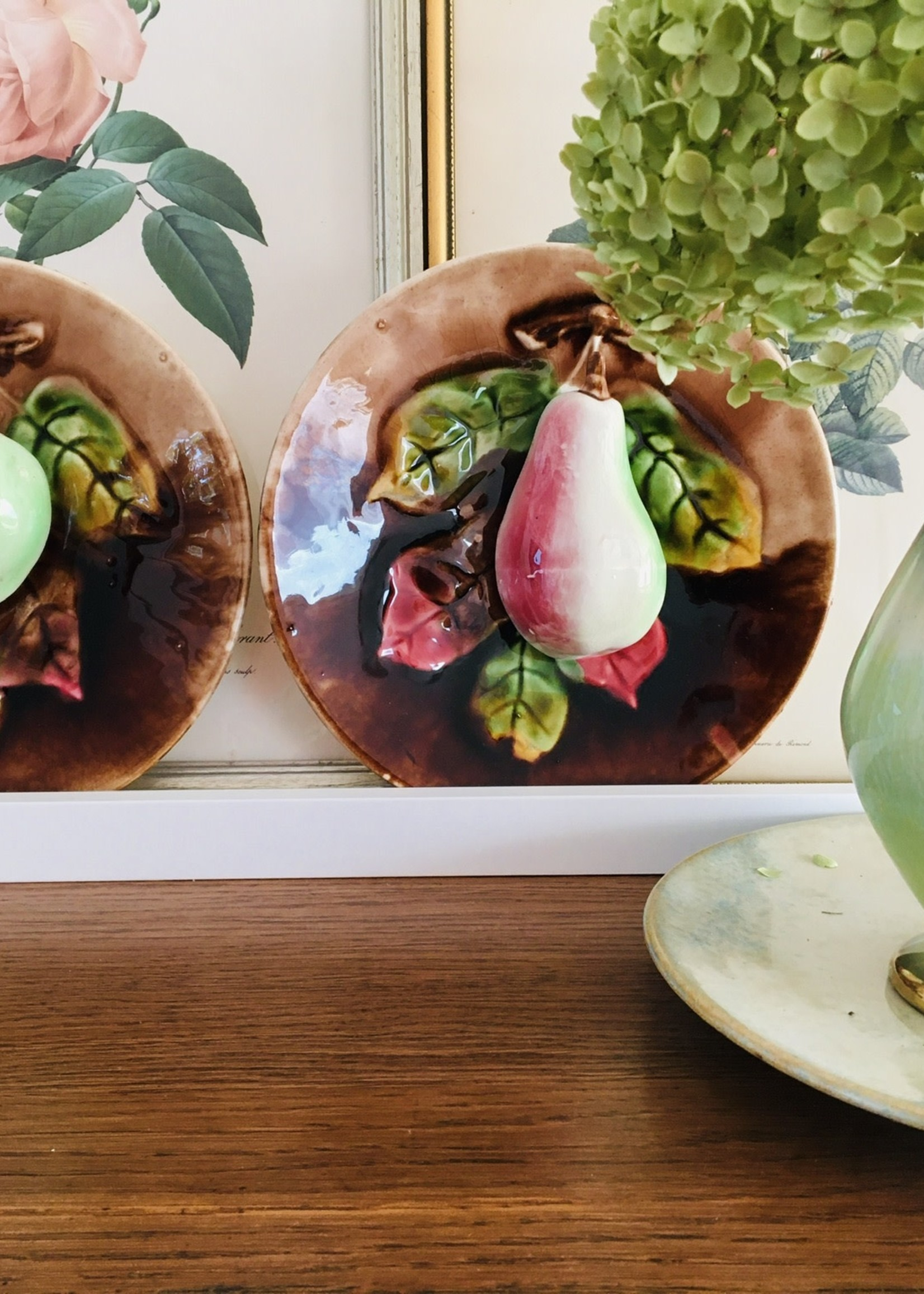 Brown Barbotine Plates with Apple and Pear, Moulin les Loups Orchies, Majolica