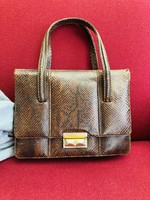 Brown leather (python) handbag with brass and leather closure