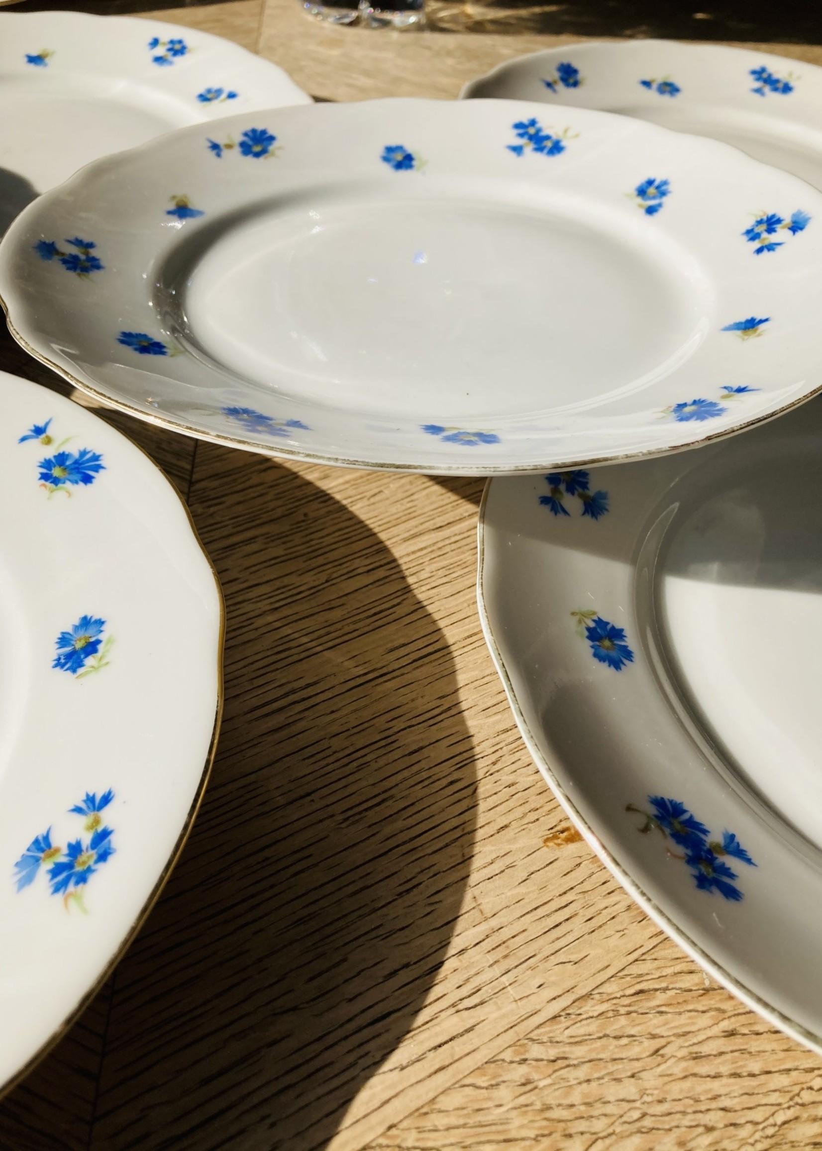 Desert plate Bavaria porcelain blue flowers and gold border