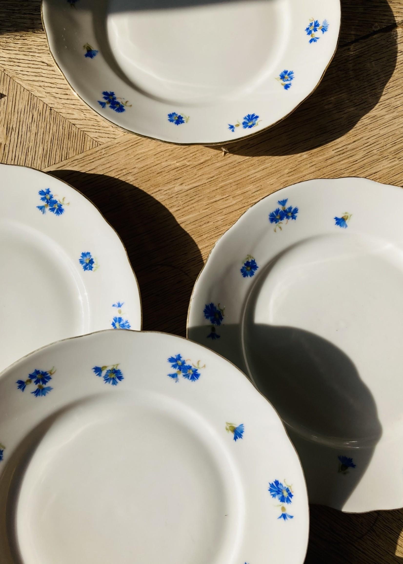 Desert plates Bavaria porcelain blue flowers and gold border