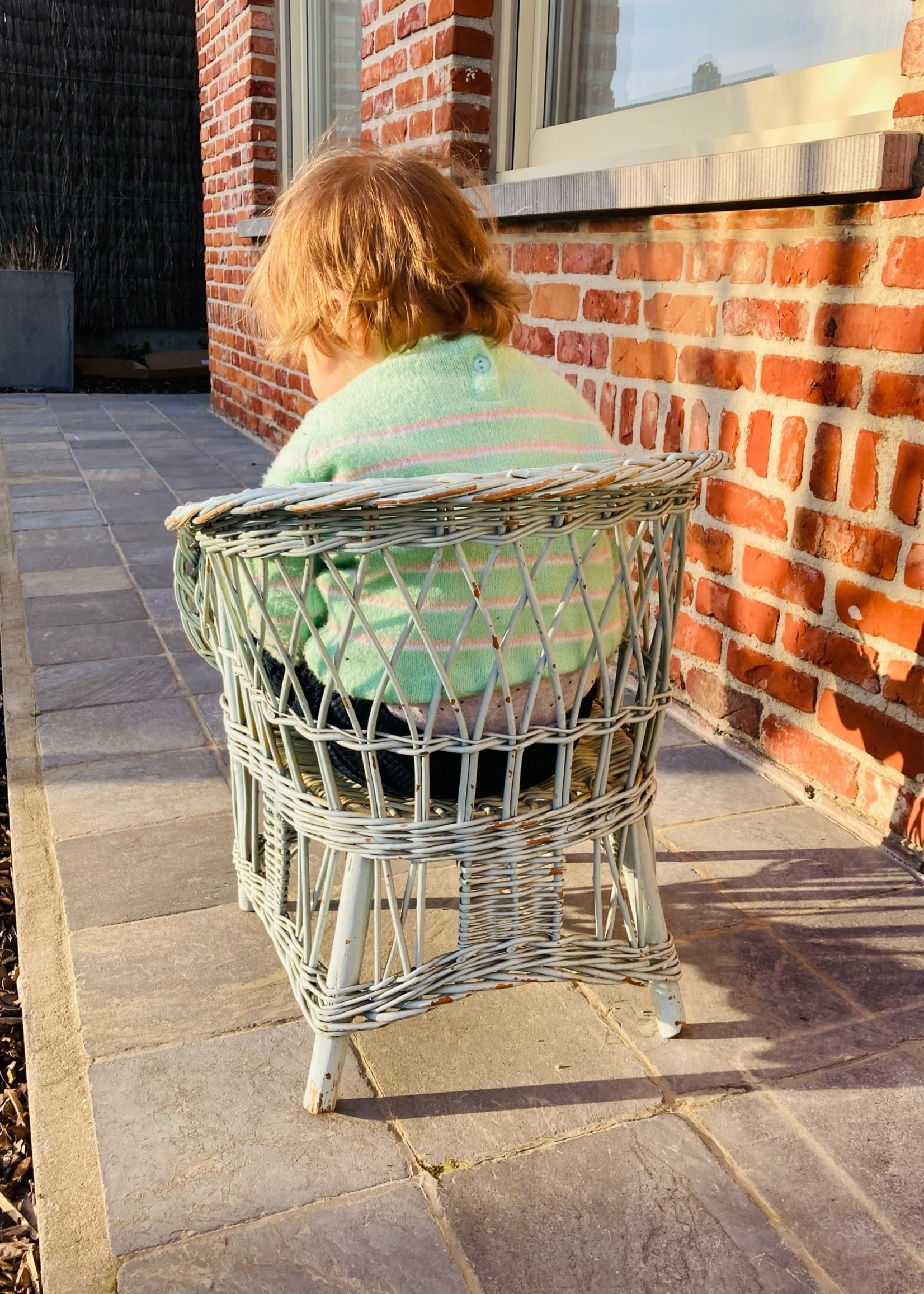 Blue childrens Rattan chair