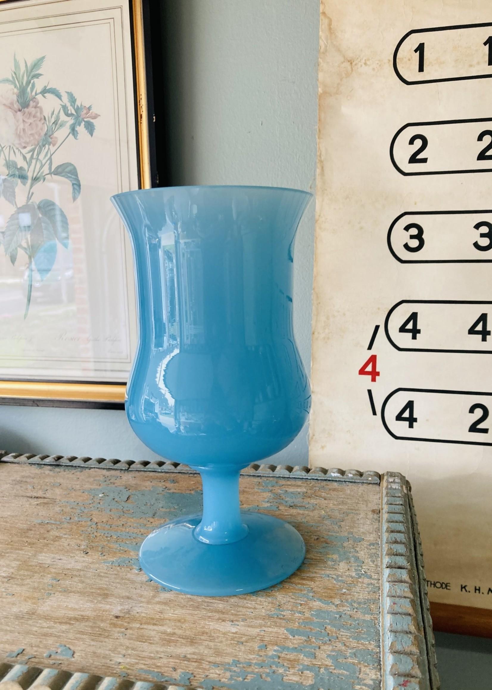 Opaline large vase amphora turquooise