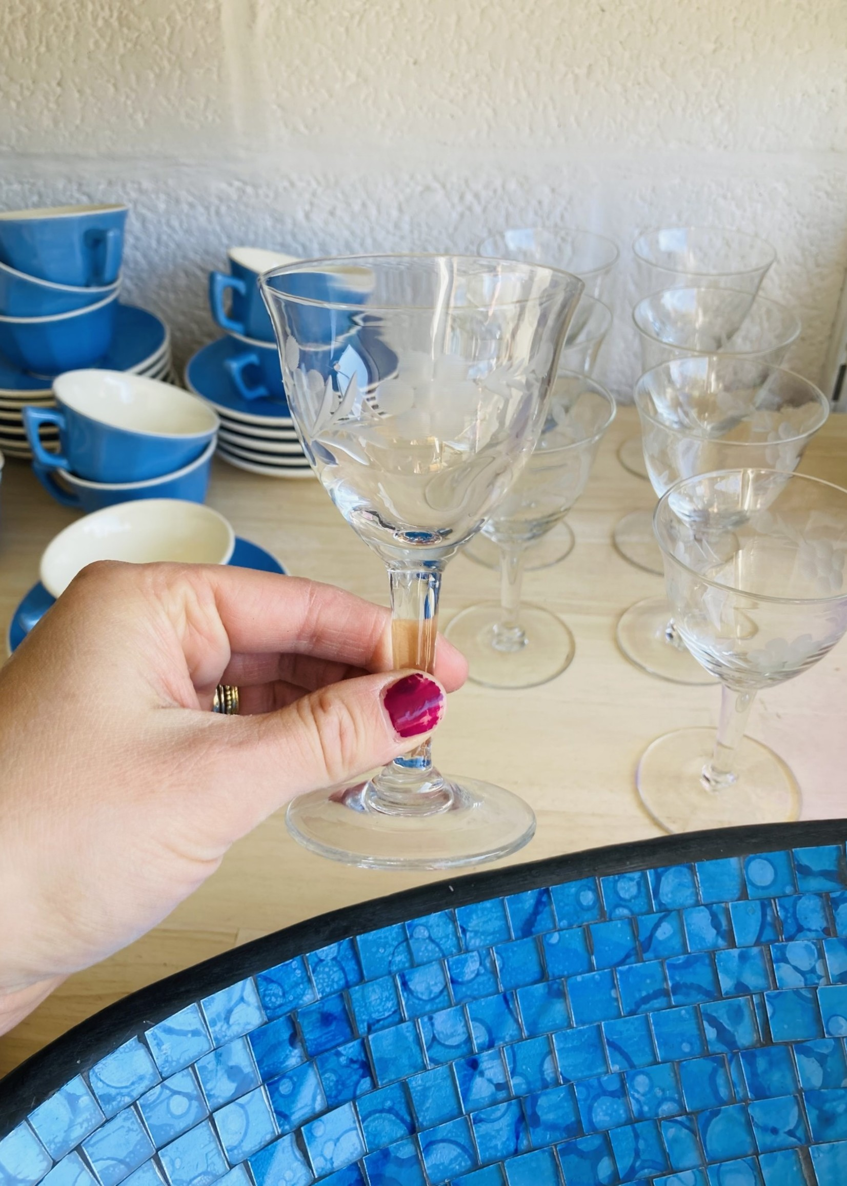 Red Wine glasses carved with fruits