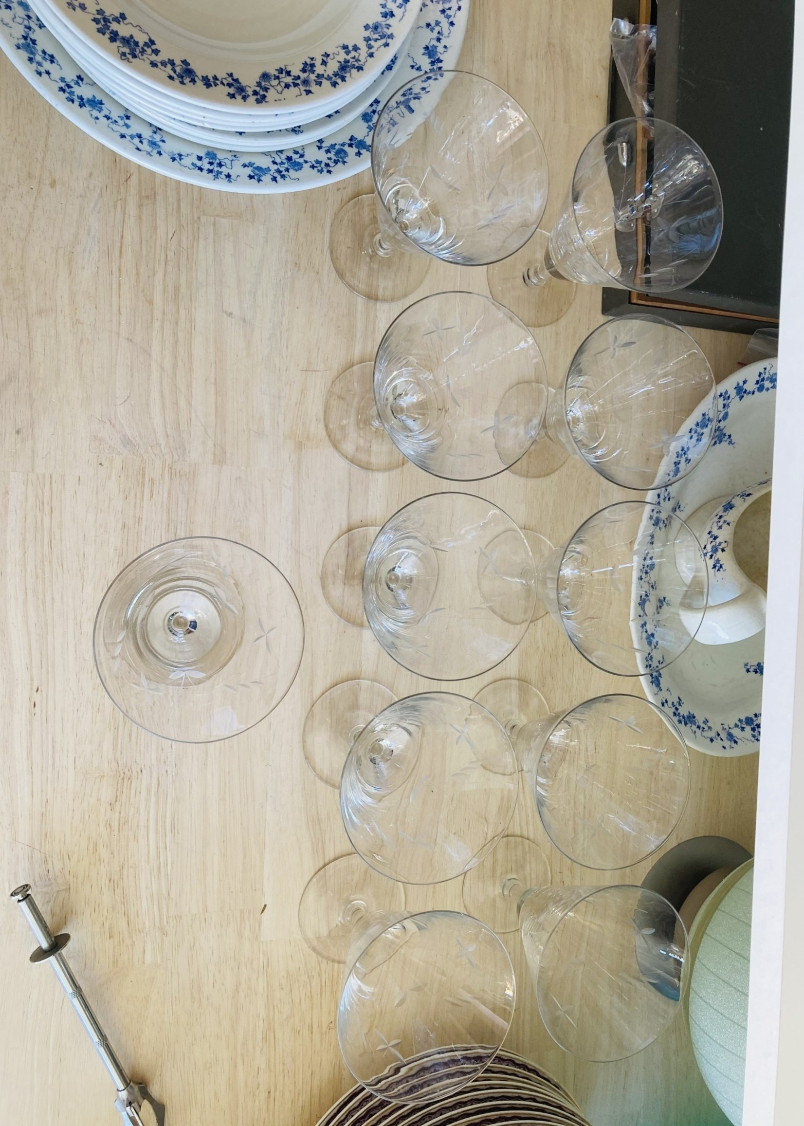 Large conic carved crystal water glasses