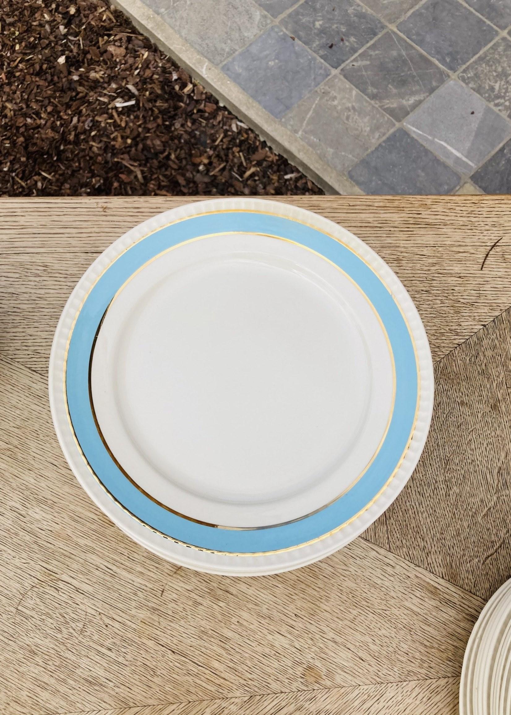 Boch Large plates with light blue border and 2 golden lines