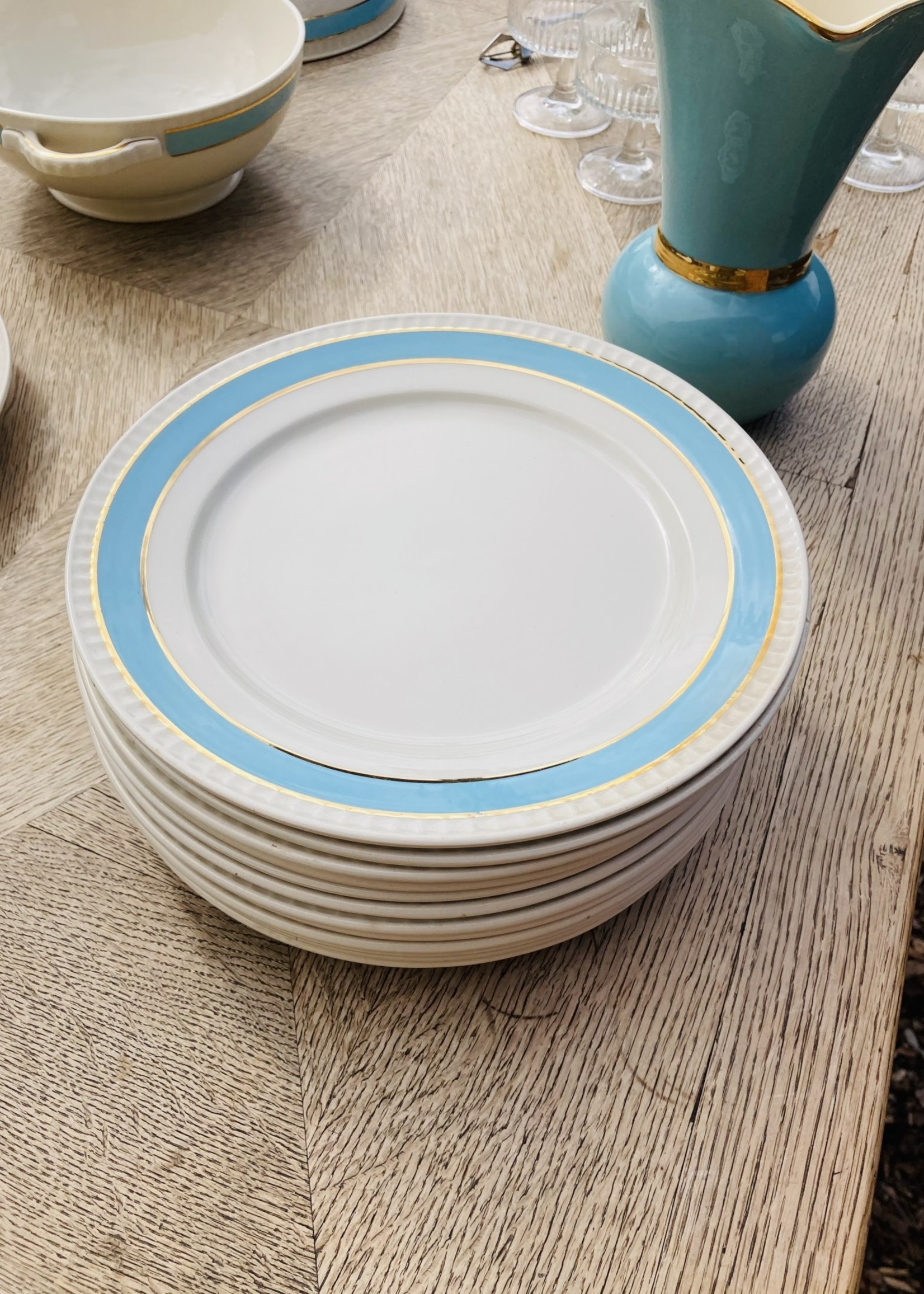 Boch Small plates with light blue border and 2 golden lines