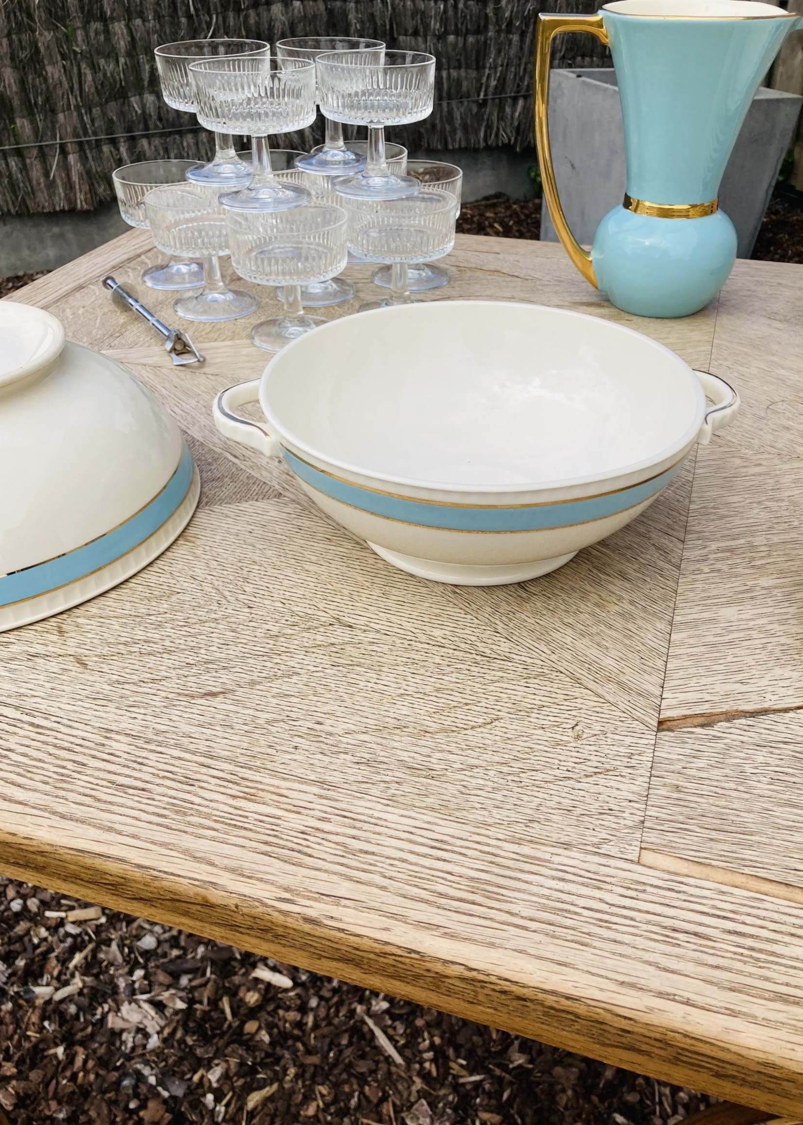 Boch Salad dish with light blue border and 2 golden lines