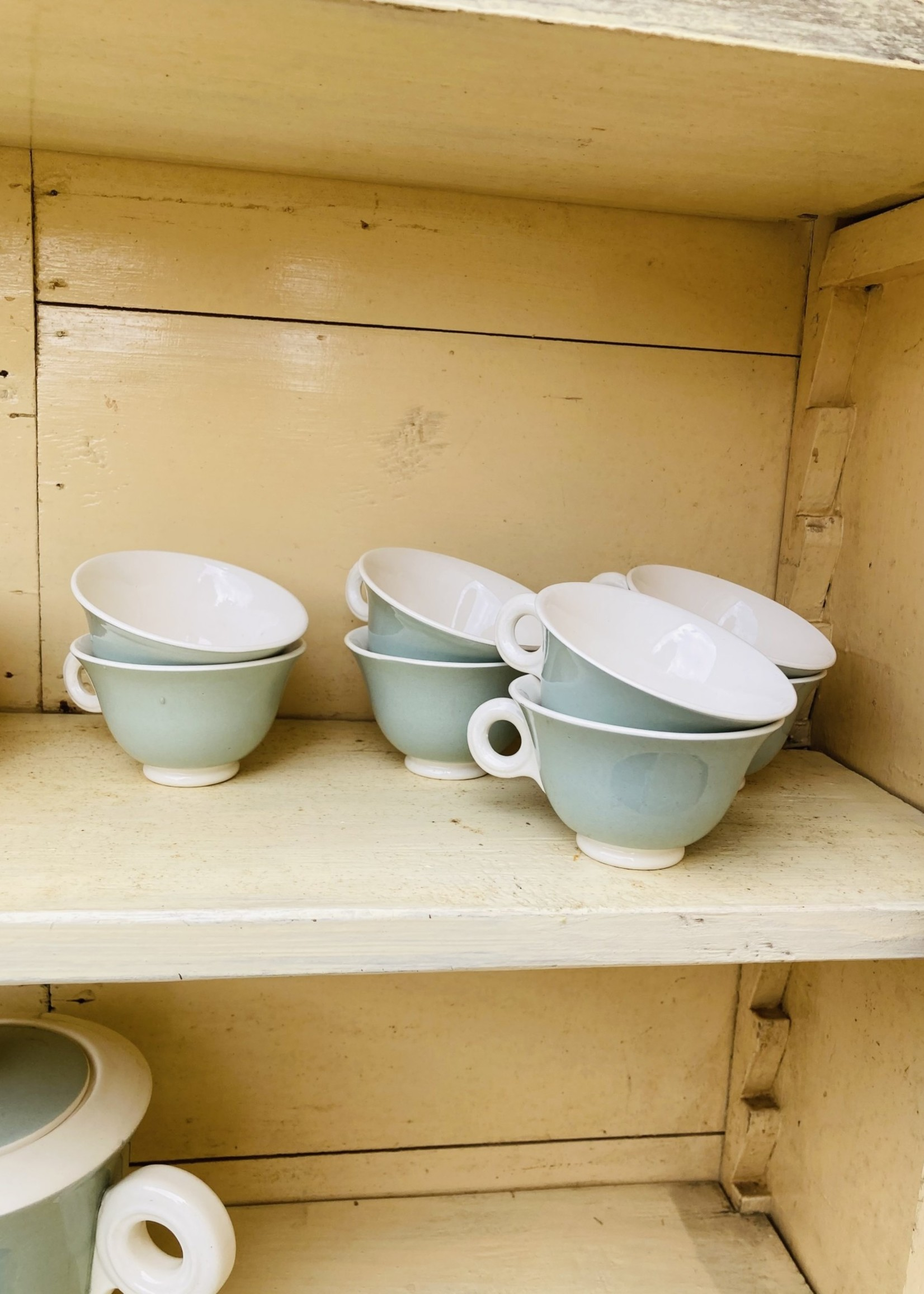 Coffee set from 9 cups and plate, Coffepot, milk pot and sugar pot  pastel green with round details from Sarreguemines