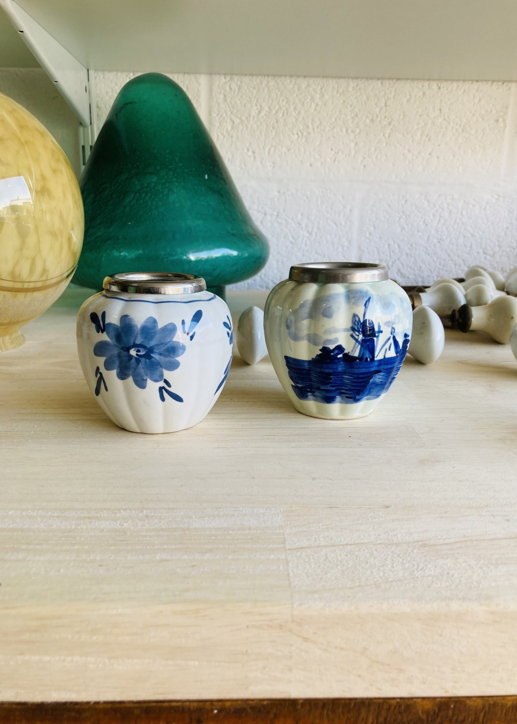 Small Delft porcelain pot with silver plated metal rim and windmill decor.