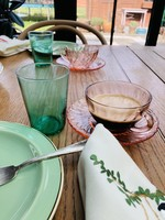 Small vintage green waterglasses