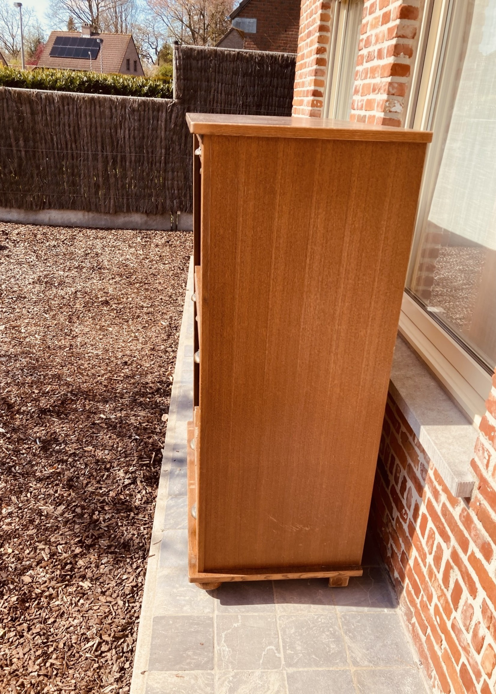 Wooden secretary or cabinet with roller shutter