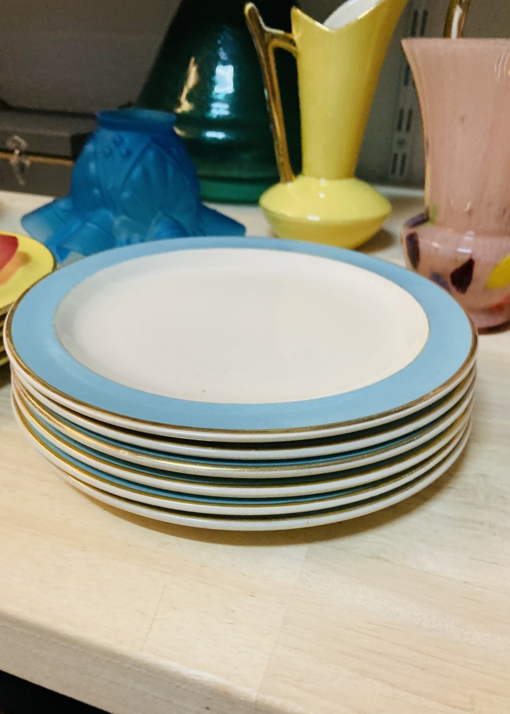 Small Plates from Boch with blue border and golden lign