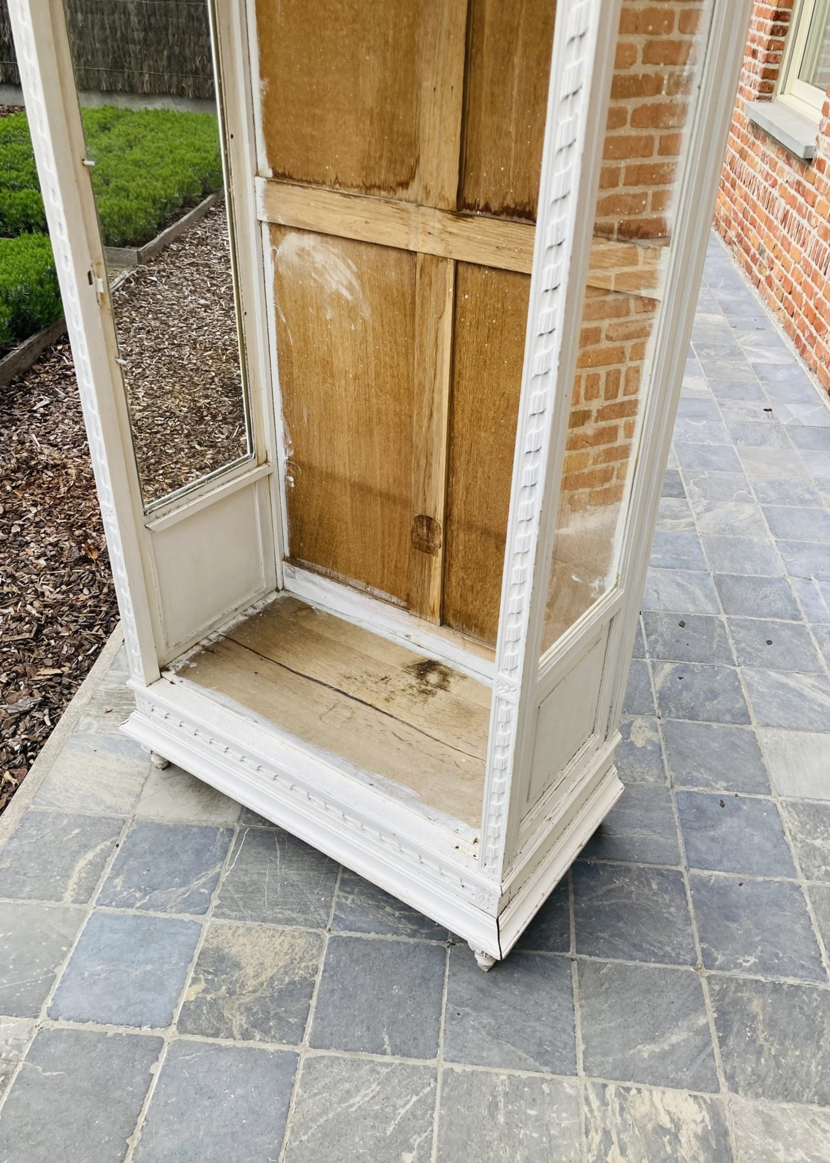 Antique white Cabinet with glass sides