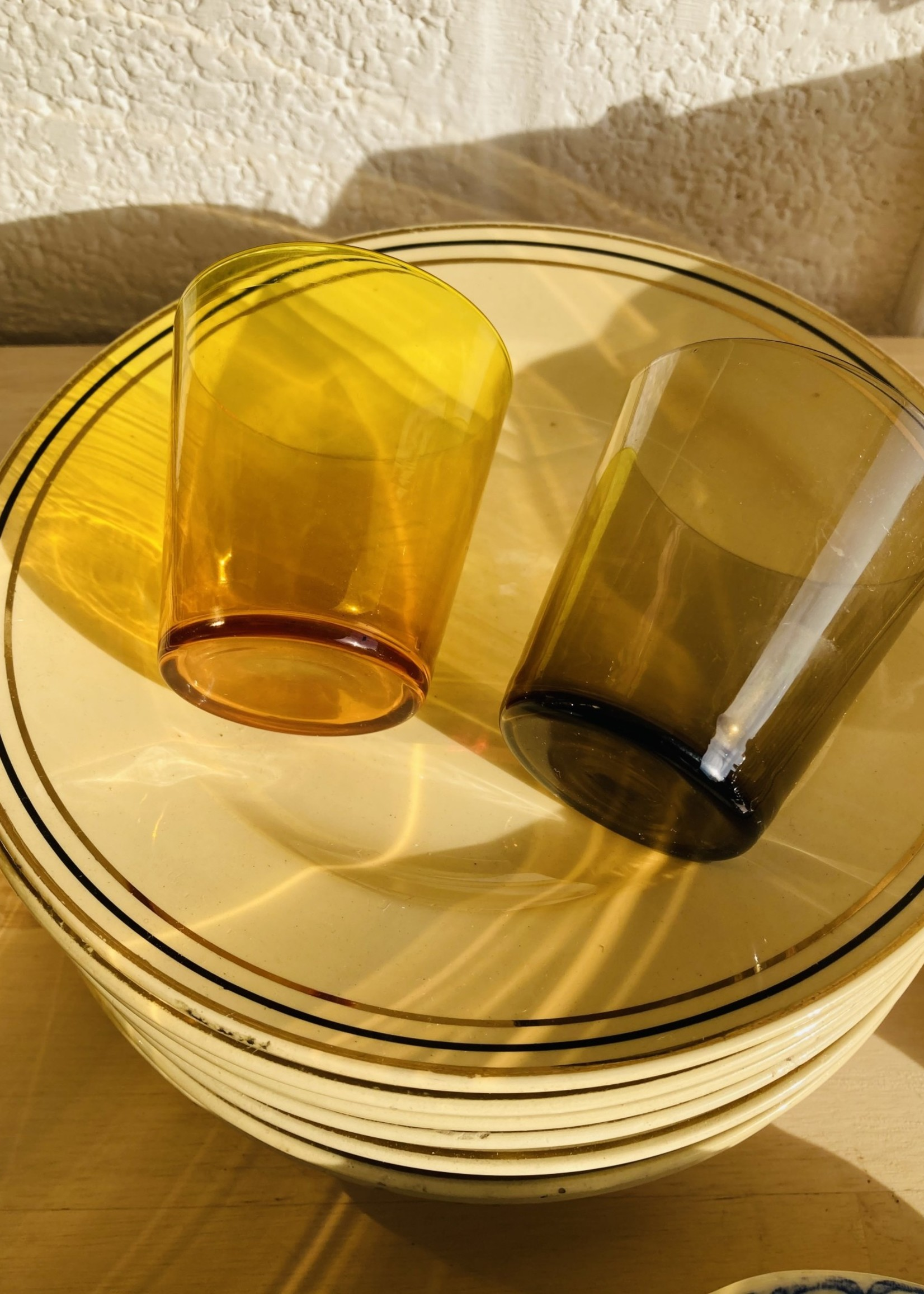Boch Dessert plates with gold and brown lines
