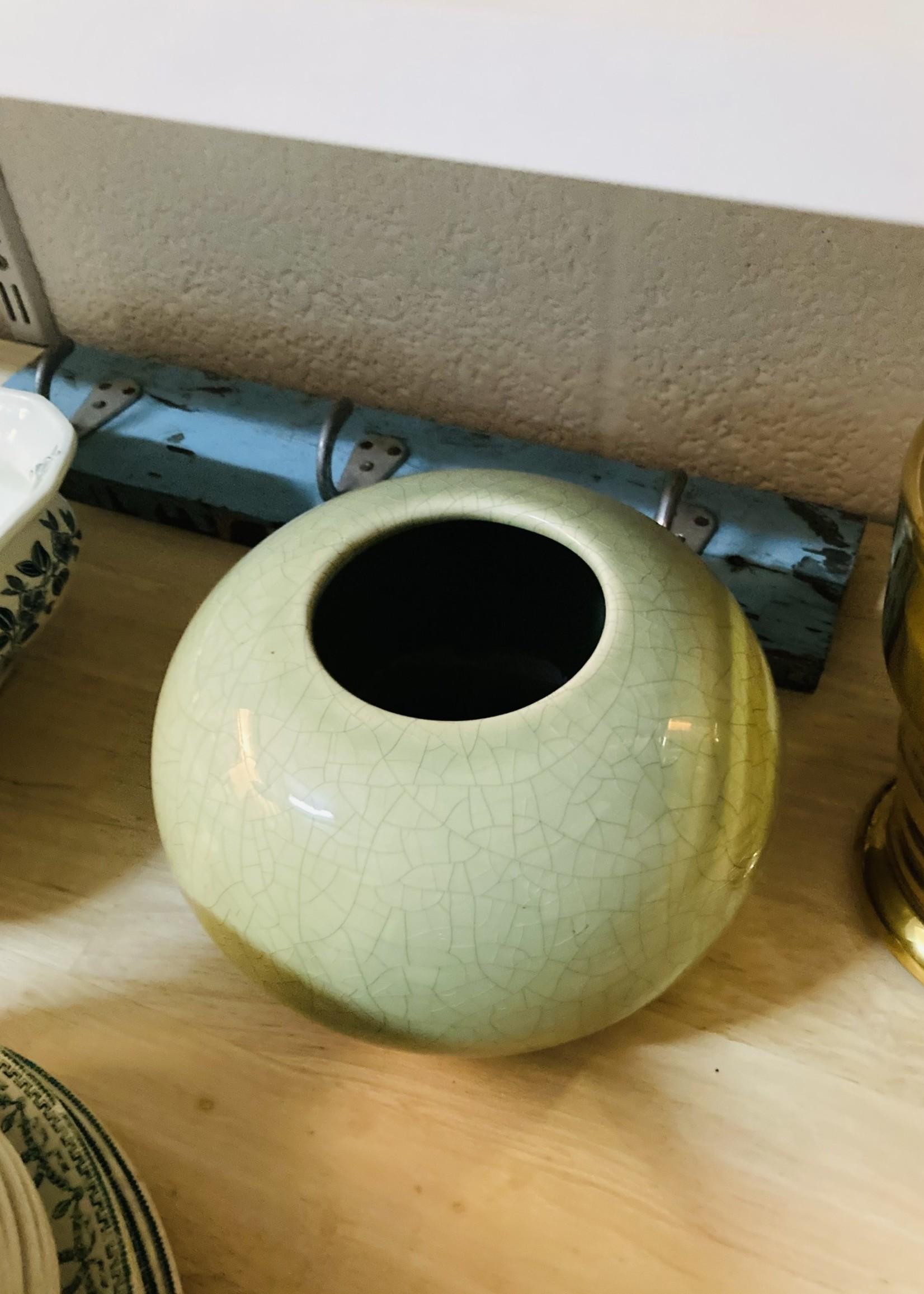 Vase green ceramic  from Charolles