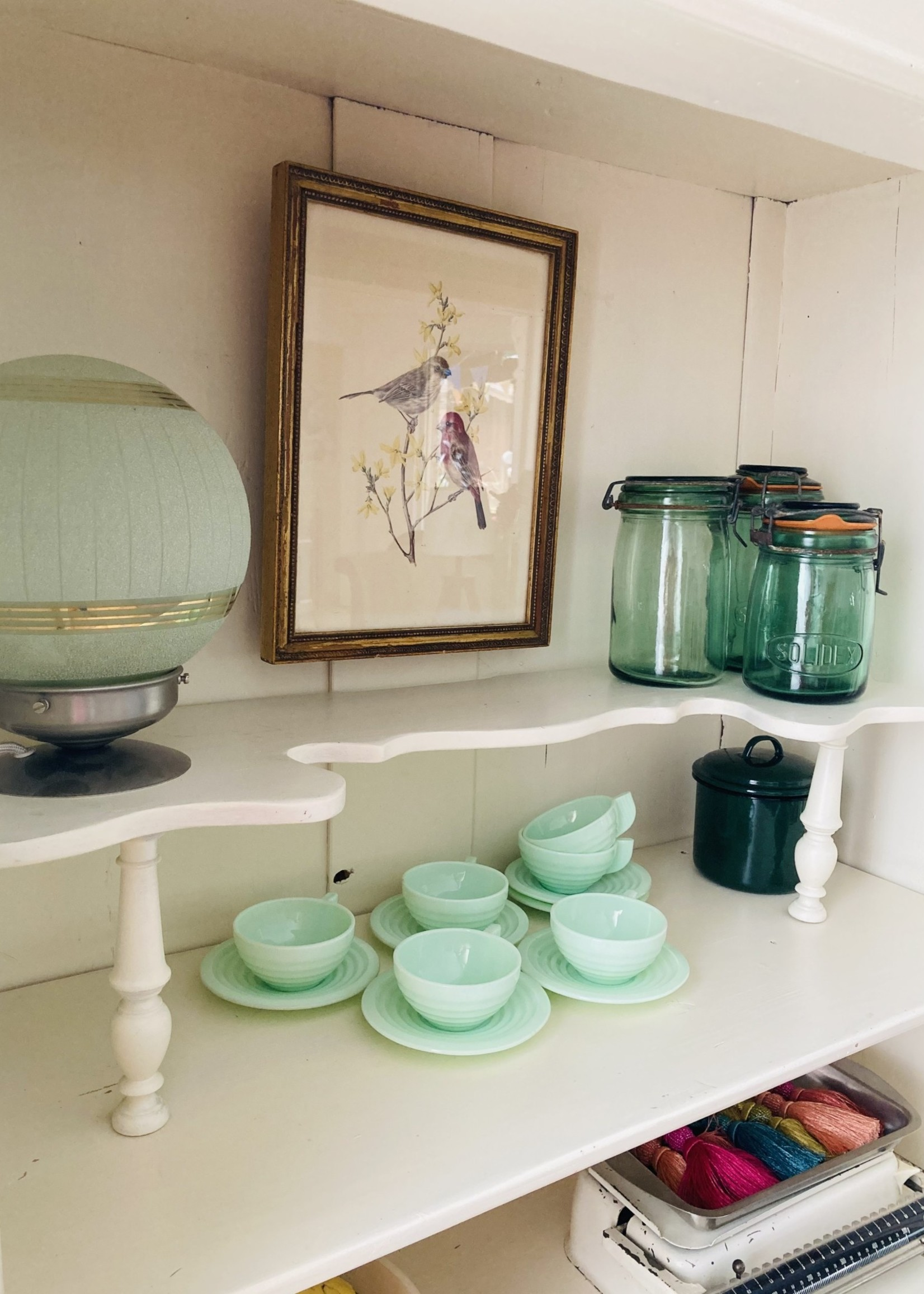 SGDG and Ideal jars in green glass from 1920
