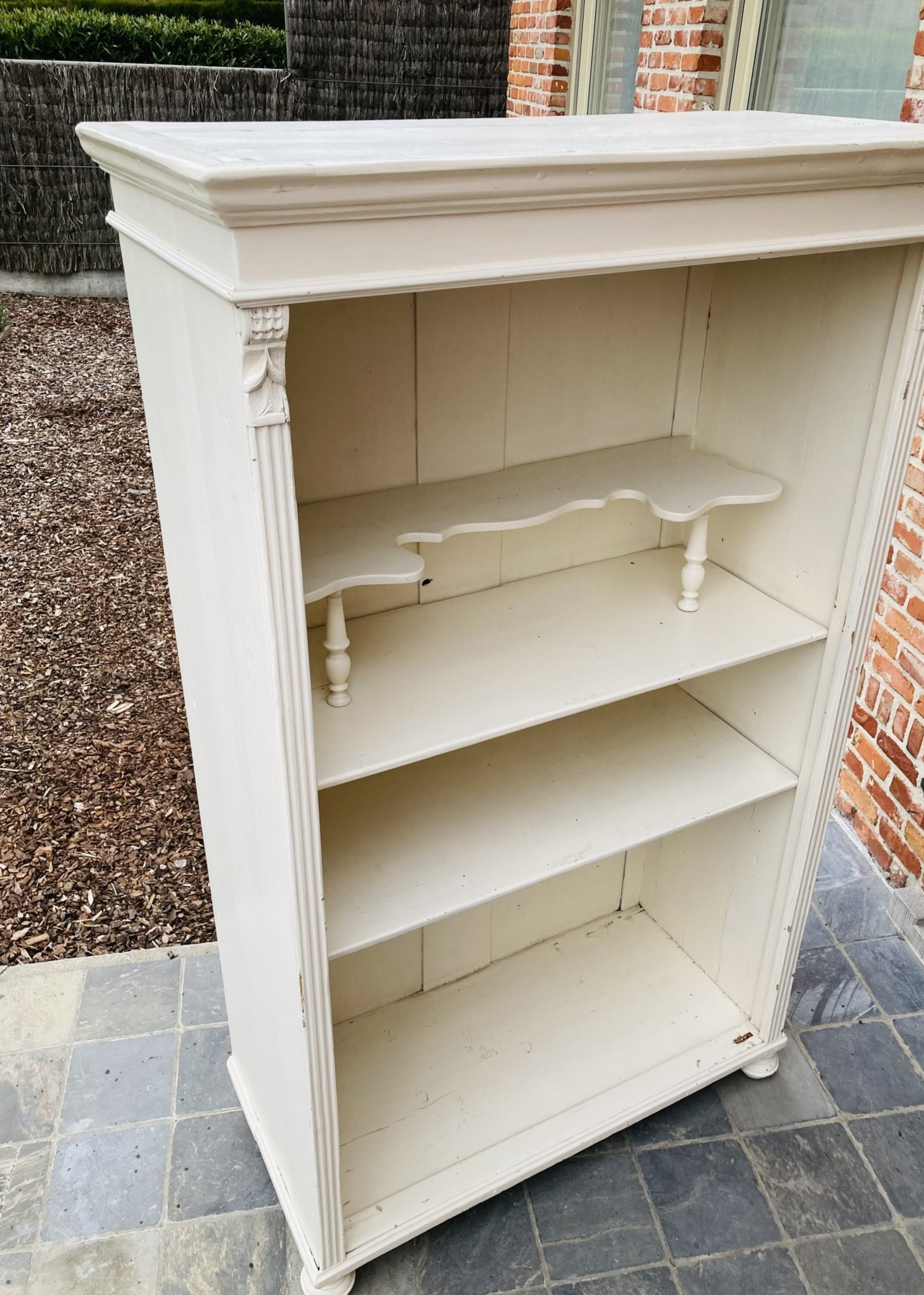 Antique cabinet painted white without door,  2planks and podium