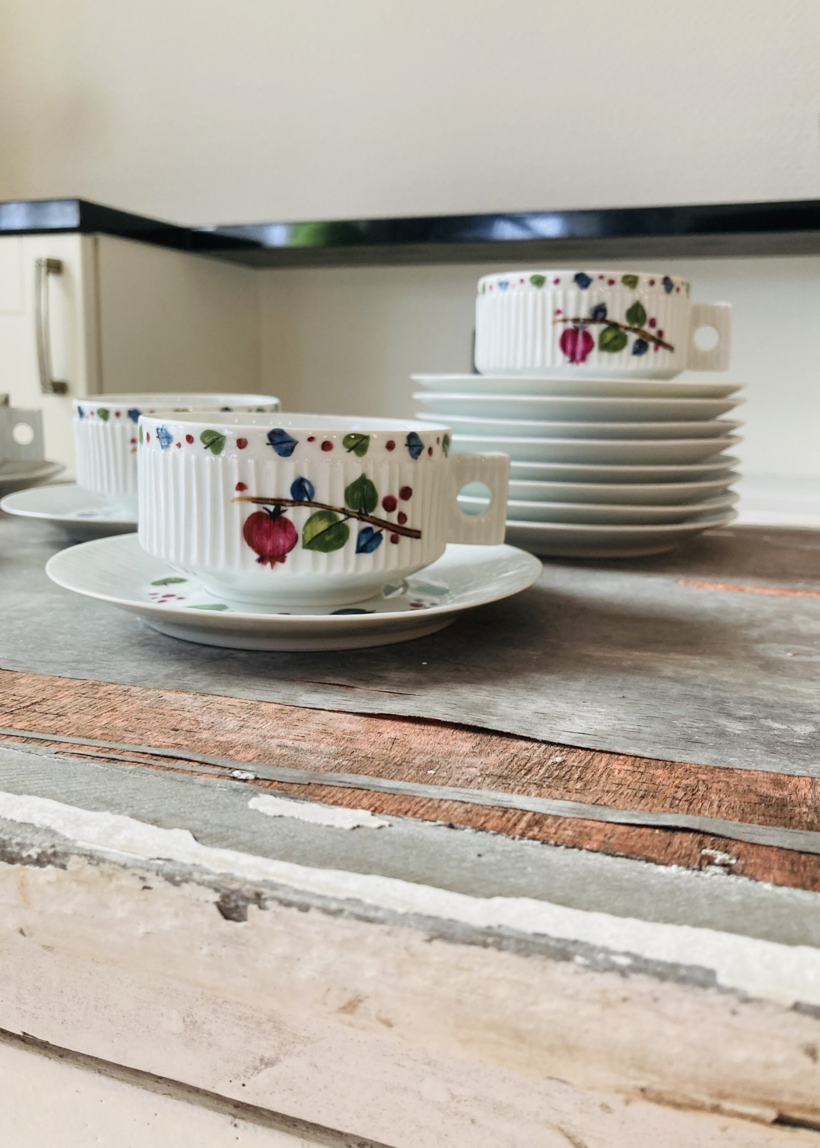 Coffee cups and small plates  in Limoges porcelain