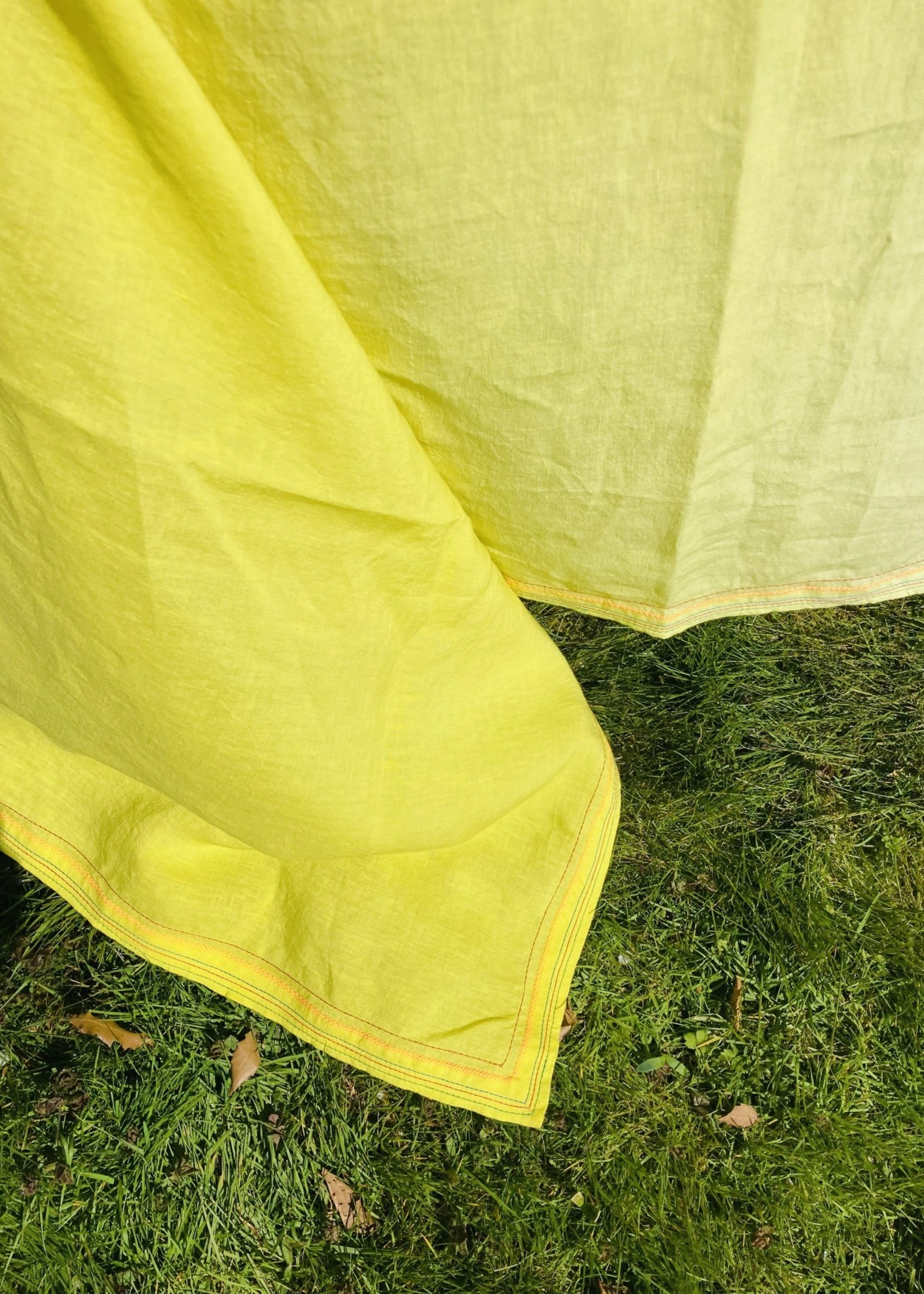 Yellow Tablecloth in Belgian High end Linnen with Embroidery