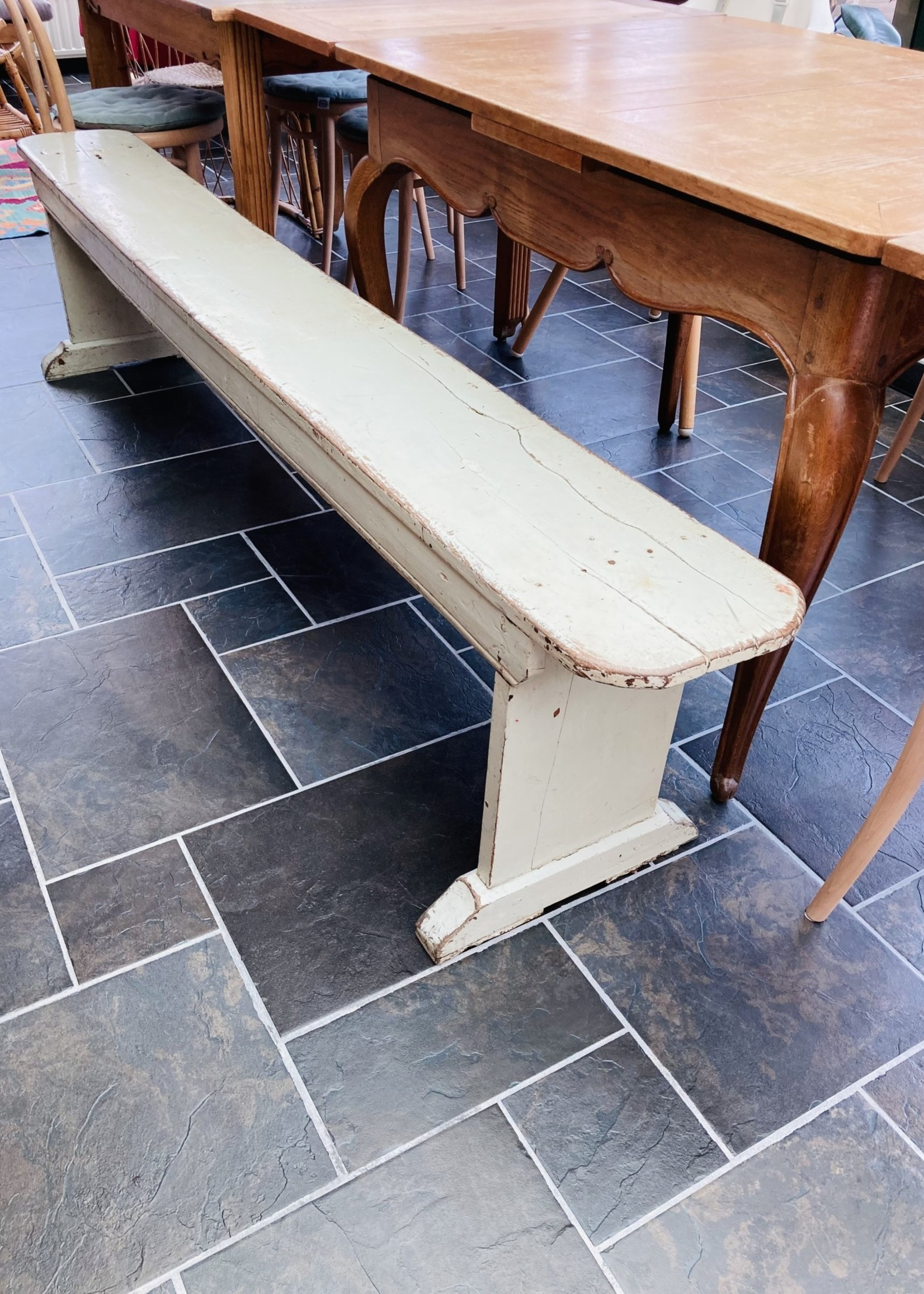 Wooden Bench with green patinated paint