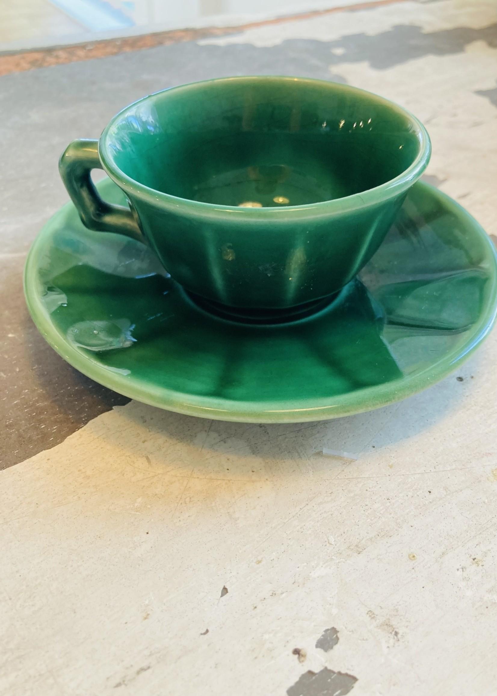 Luneville Dark Green Mocha cups from Luneville France